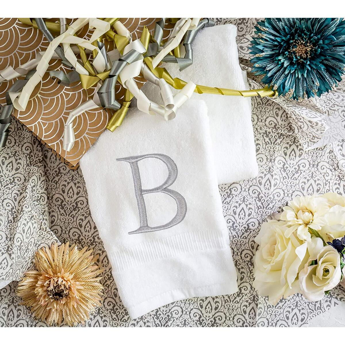 Organic Monogrammed Hand Towel for Bathroom Set of 2 - Letter B