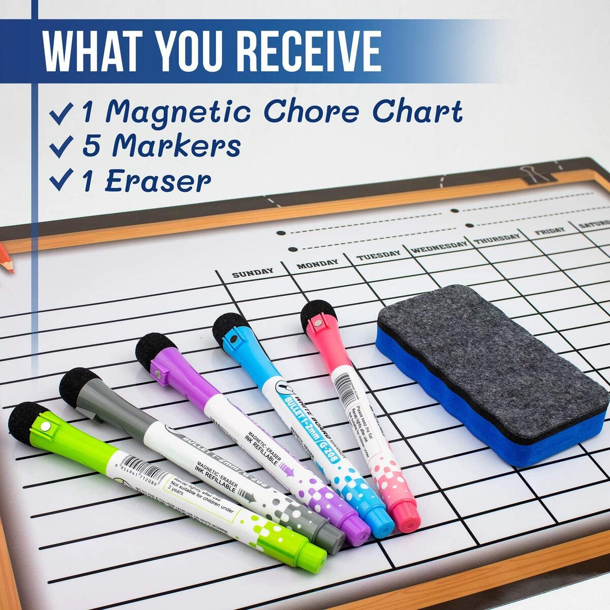 Chore Chart For Multiple Kids-By MBM-Magnetic Dry Erase Chore Chart Great for Kids,Teenagers & Adults-17x12