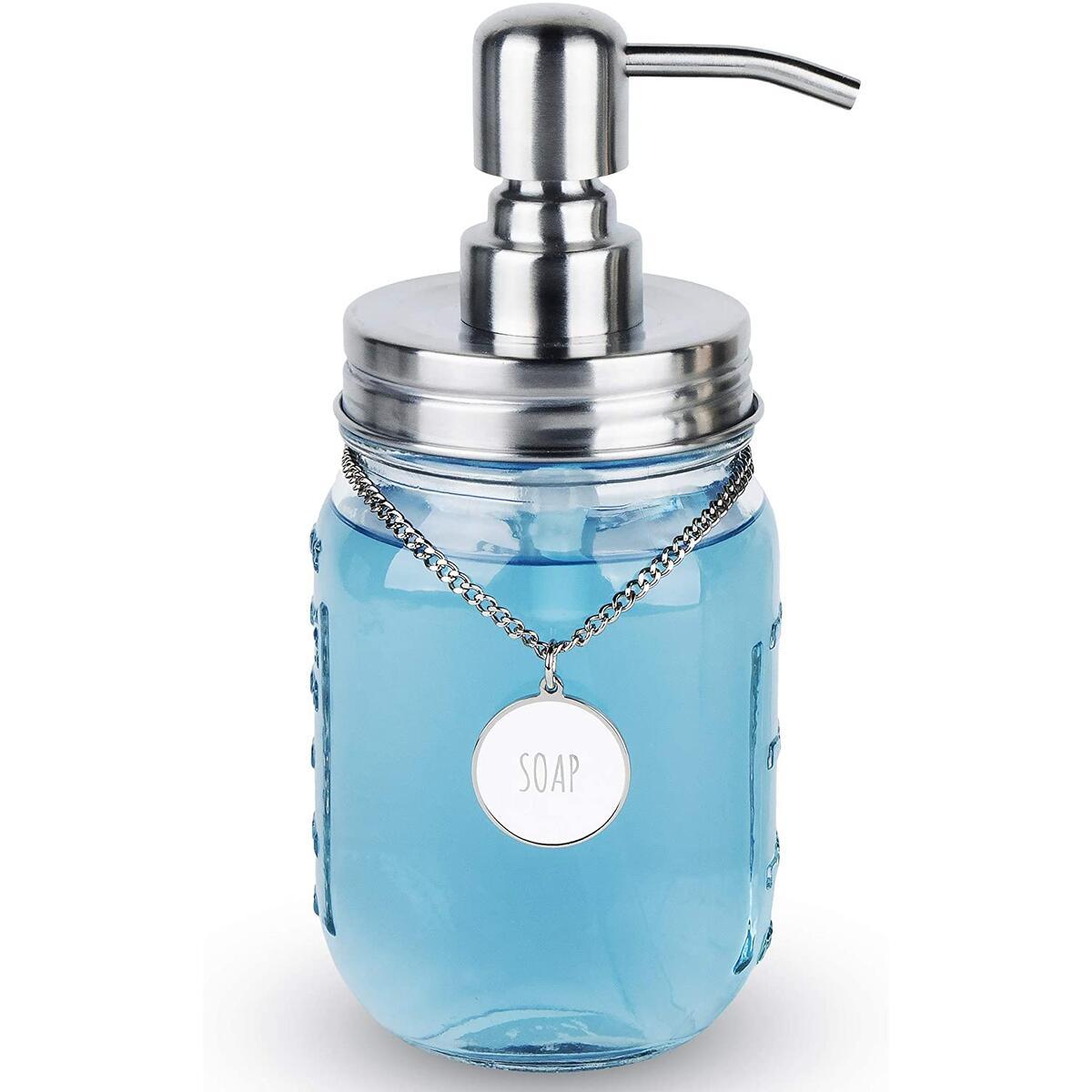 Mason Jar Soap Dispenser with SOAP/LOTION Hang Tag (Silver)