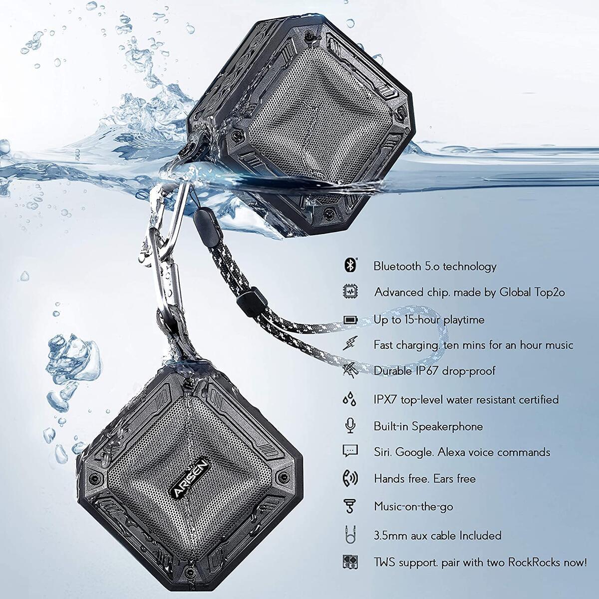 Small Portable Bluetooth Speakers Waterproof, 8W SuperLoud & DeepBass Micro Wireless Speaker, IP67 Water-Resistant, Anti-Drop, Built-in Mic, Support Siri & Google Voice Commands, 16-H Playtime
