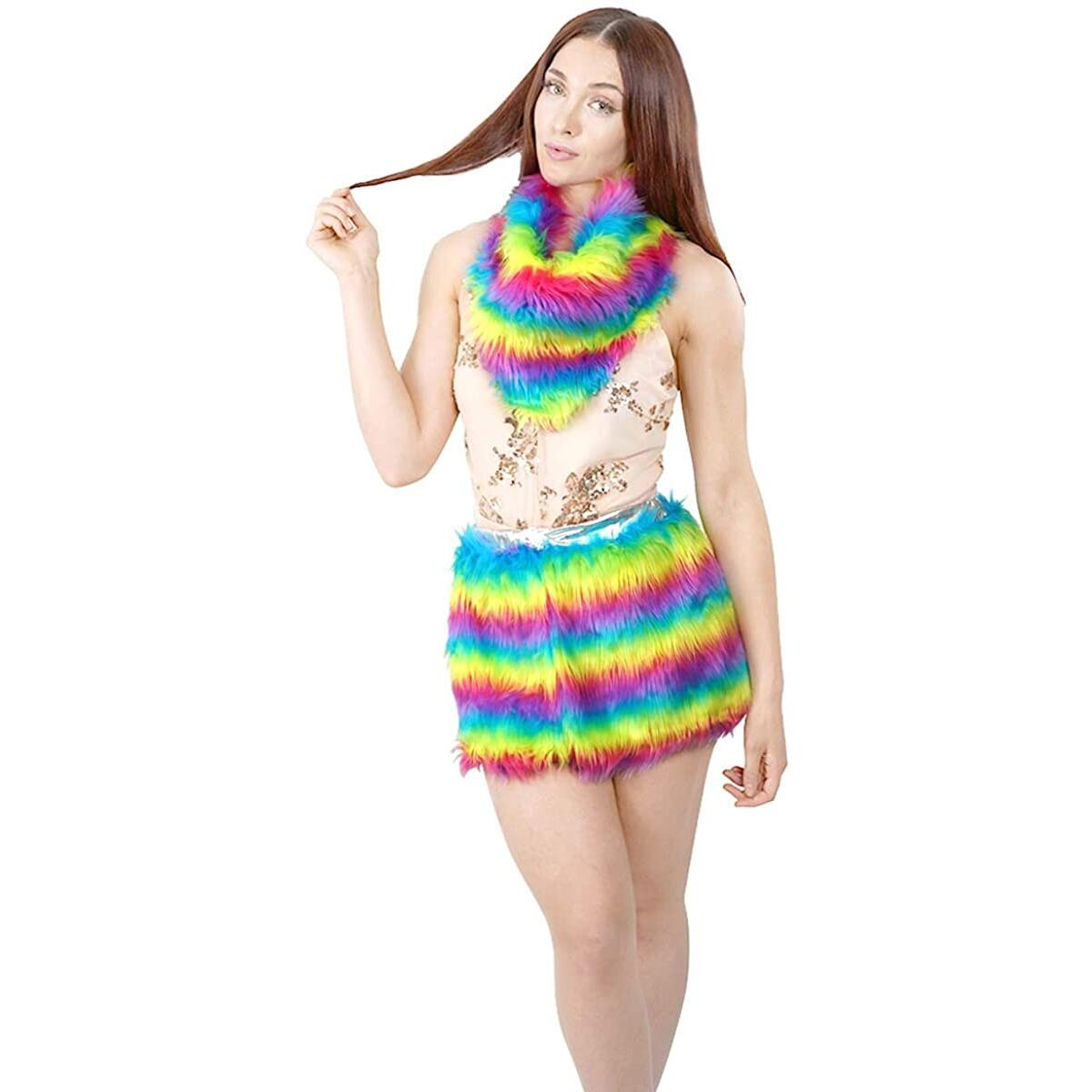 Faux Fur Two Piece Set Rainbow Triangle Scarf Mini Skirt Set
