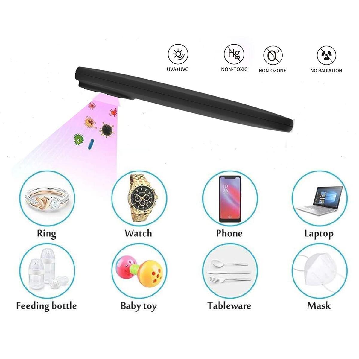 eLegio UV Light Sanitizer Wand, Portable Ultraviolet Technology, Hendheld UVC Sterilizer Lamp, Mini Stick Disinfection and Sanitizing, Mobile, Door knobs, Cars, Travel, Premium