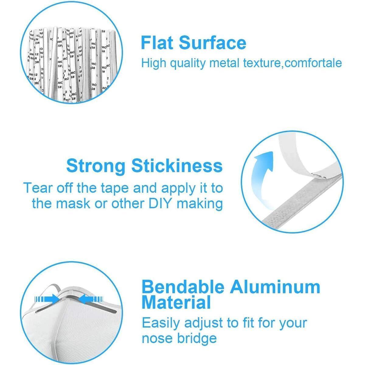 Elastic Band 100 Yard, 1/4 Inch Wide Elastic String and Nose Bridge for Mask, 100PCS Metal Aluminum Nose Bridge Strip for DIY Mask Handmade Crafting