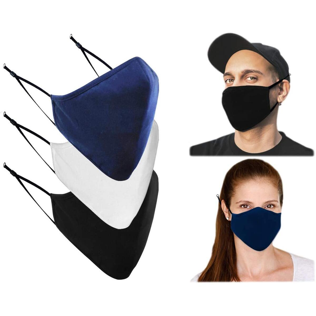 Cotton Washable Cloth Face Mask - Adjustable and Reusable 3 Layer Protective Fabric Face Cover