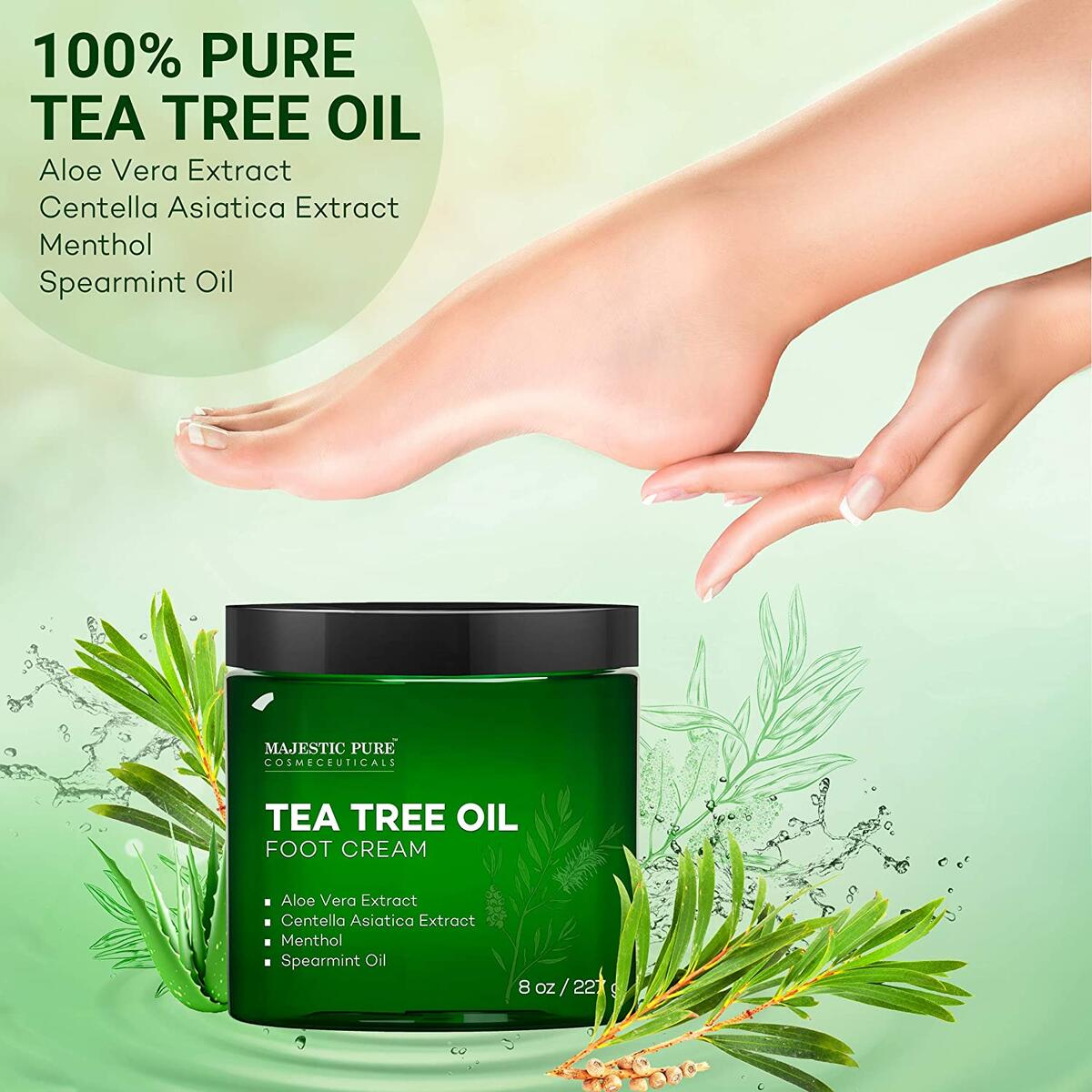 Athletes Foot Cream with Tea Tree Oil, Aloe & Spearmint - Hydrates, Softens & Conditions Dry Cracked Feet, Heel and Calluses,- Helps Soothe Irritated Skin - 8 oz