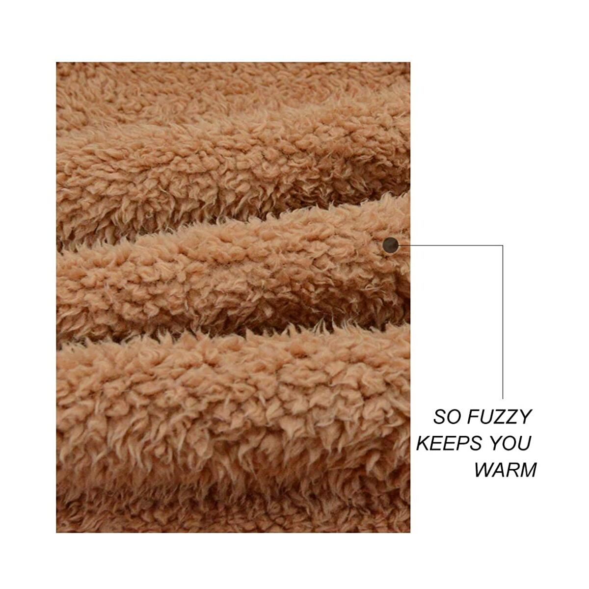 Women's Fuzzy Fleece Sherpa Jacket Coat Warm Winter Faux Fur Shearling Jacket Coat with Pocket