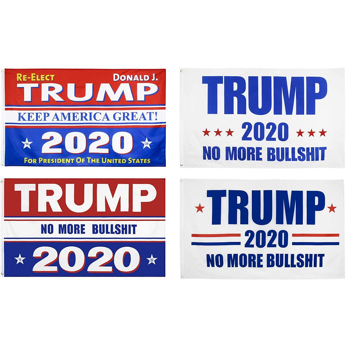 KENPMA 4 Pieces 3x5 Feet Donald Trump for President 2020 Re-Elect Keep America Great Flag No More Bullshit Flag with Grommets - Printed Polyester - Indoor/Outdoor - Vivid Color - UV Fade Resistant