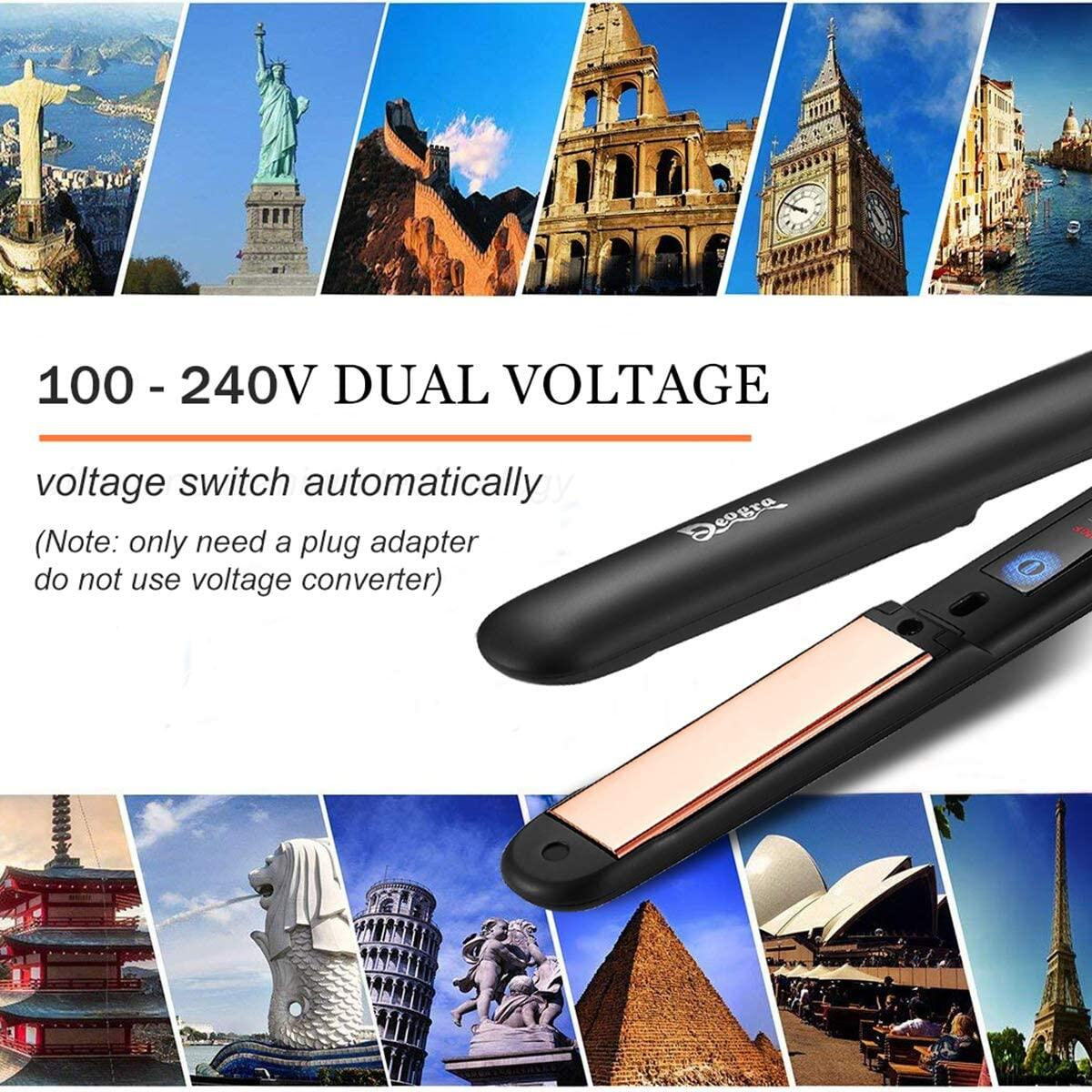 Deogra Titanium Flat Iron for Hair Professional Hair Straightener and Curler 2 in 1, Dual Voltage Travel Flat Iron with Temperature Adjustable High Heat 450°F, Floating Plate 15s Heat Up
