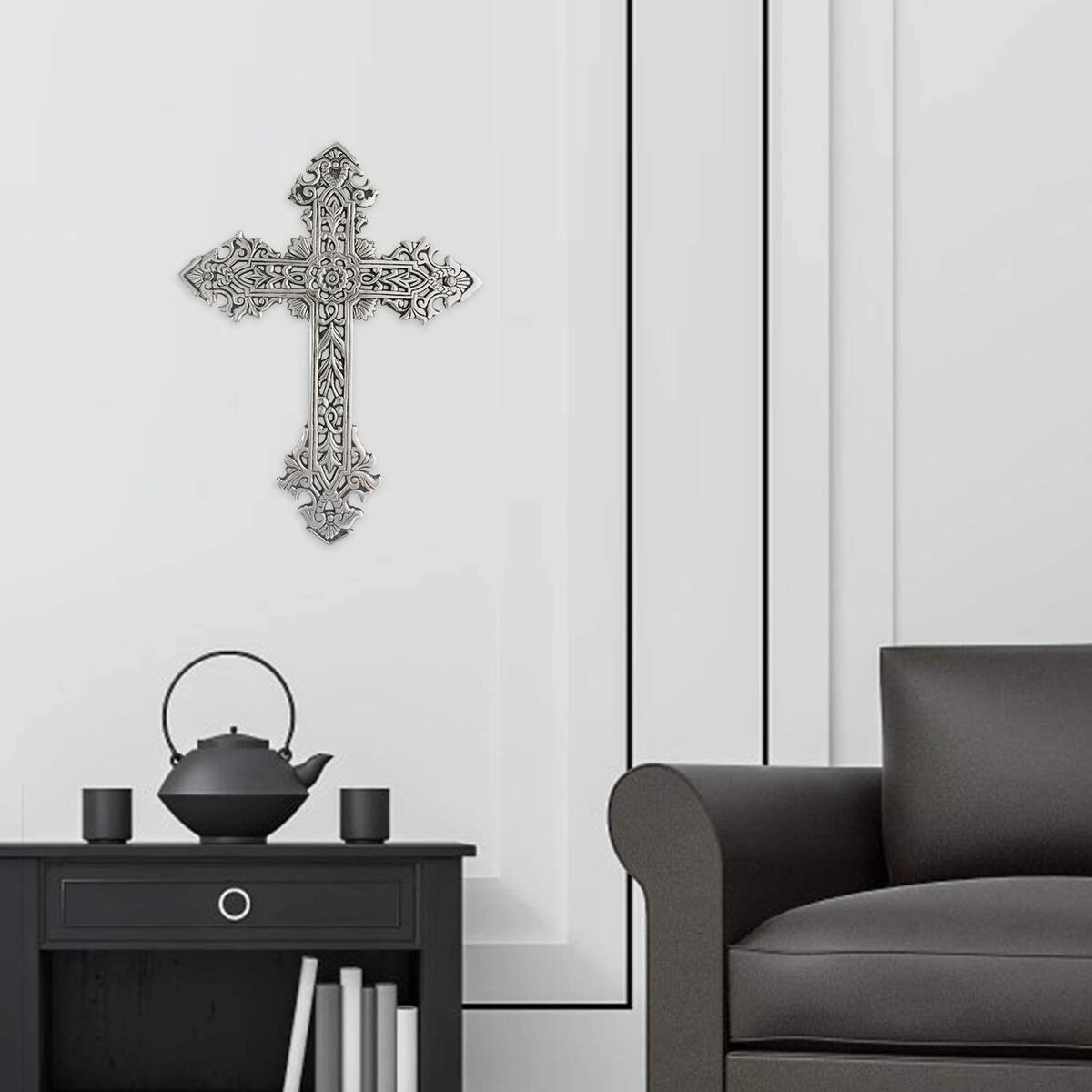 Decorative Family Wall Cross Large Metal Decorations for Home - Religious Metal Hanging Cross Wall Decor, Best for Home and As A Gift - Silver Nickel Finish Wall Art, Black Glazed