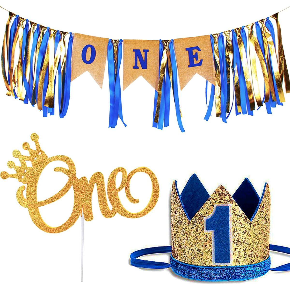 1st Birthday Baby Boy Royal Decorations - Boys Highchair Burlap Decoration Supplies Set, First Blue Prince Crown Hat, ONE Glitter Gold Cake Topper - Double Sided with Crown | Smash Party Decor Kit