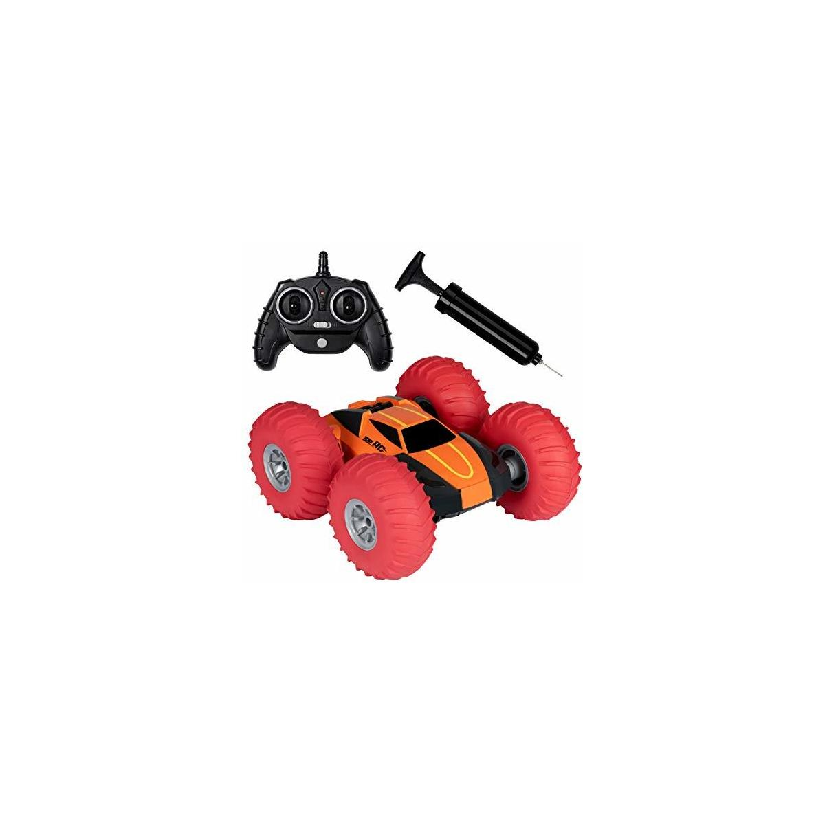 Kidstech Remote Control Race Car for Boys and Girls, 360 Degree Flips Double Sided Rotating Stunt Car with Air Tires and Pump, 2.4 GHZ High Speed R/C Car for Kids Ages 6+, Orange