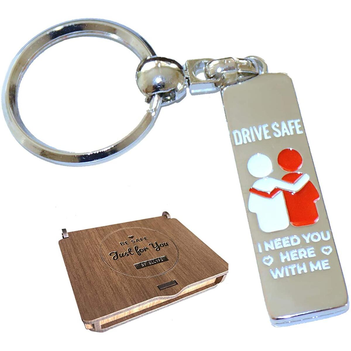 Drive Safe Keychain with Wooden Gift Box for Valentines Day Keychains Boyfriend Brother Gifts Mom Grandpa Dad Father's Day Key Chain I Need You Here With Me Birthday Gift in Love Giftbox by Ellyfs