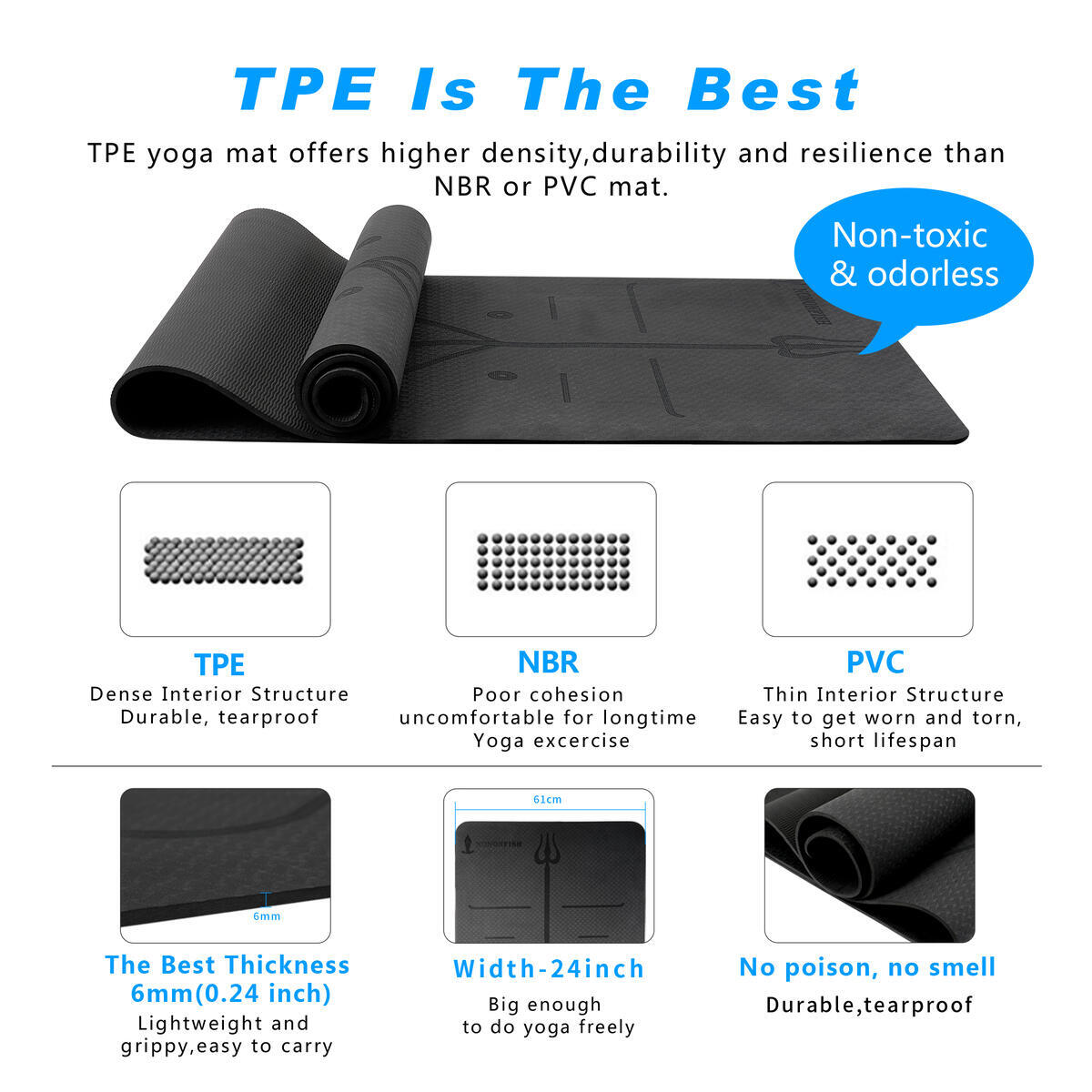 Nononfish Premium EcoFriendly TPE yoga mat 72
