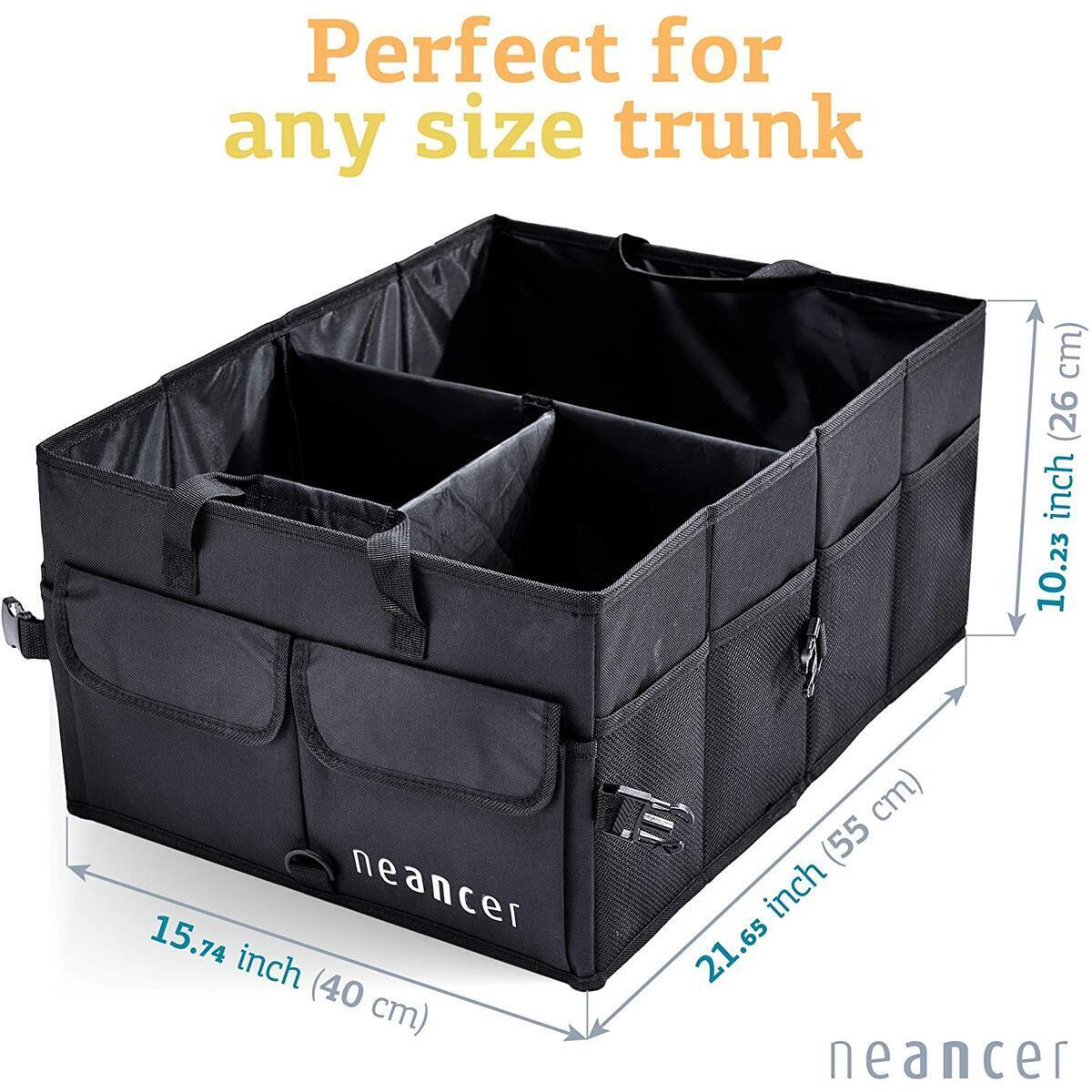 Neancer Trunk Organizer for Car, Storage SUV Cargo Organizer for Car, Carrying Handles, Adjustable Anchoring Straps, Divider Compartments for Organization