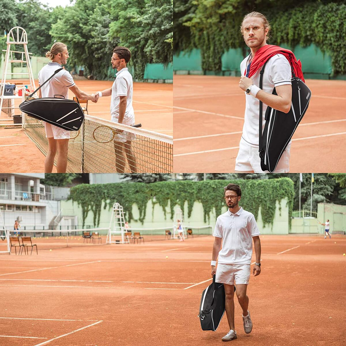 Fitdom Black Tennis Racket Bag - Can Carry Up to 3 Racquets. Perfect for Men, Women, Junior & Kids. Made from Heavy Duty Zipper & Durable Exterior for Your Gears, Towels, Balls and Accessories.