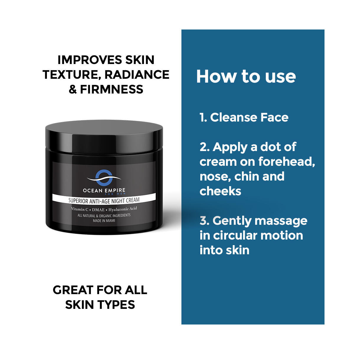 Anti Aging Night Cream for Men | With Peptides, Hyaluronic Acid, CoEnzyme Q10 | Anti-wrinkles, Fight Signs of Aging, Reduce Fine Lines, Repair Skin | Natural & Organic | 2oz