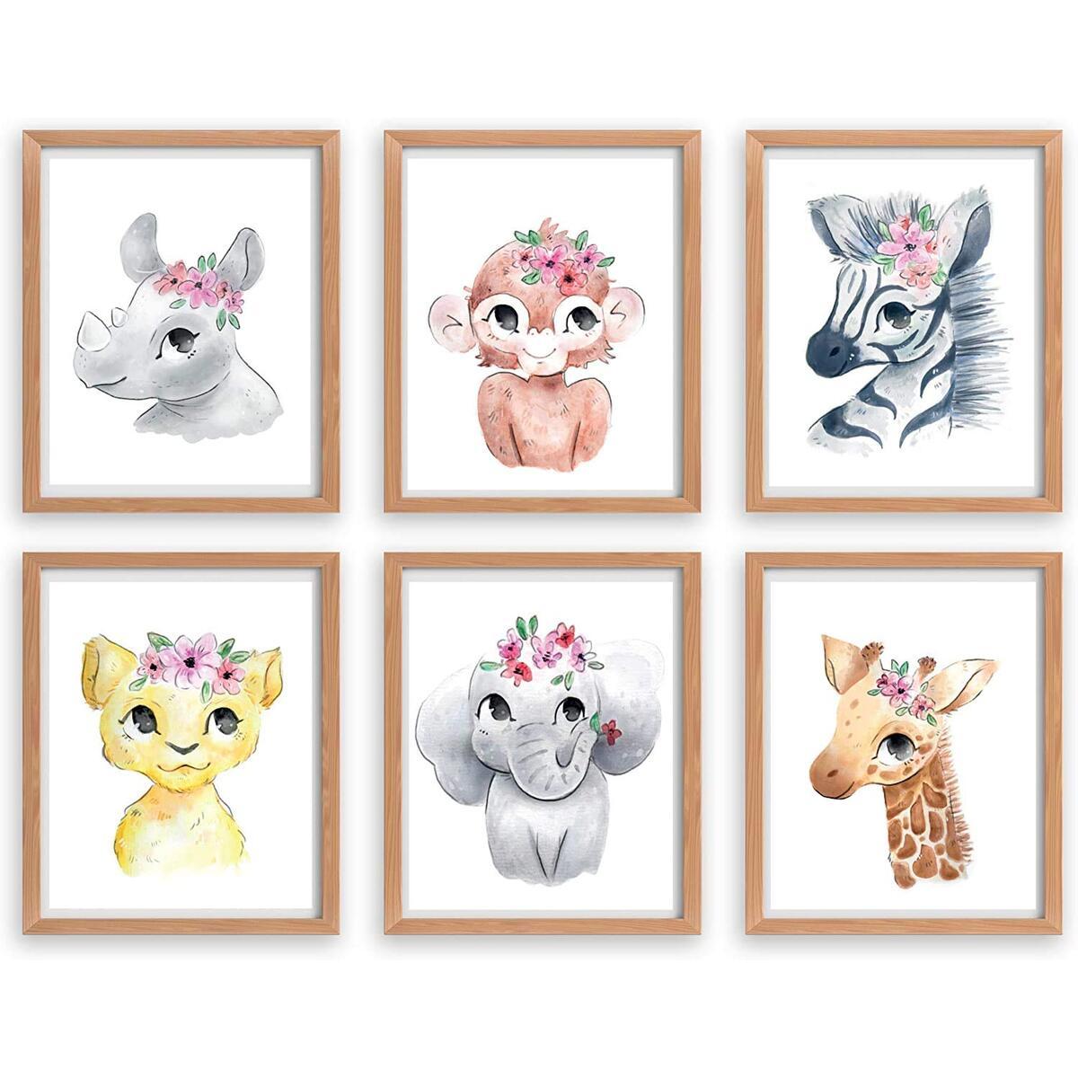Safari Nursery Girls, Floral Nursery, Nursery prints, Nursery wall art posters
