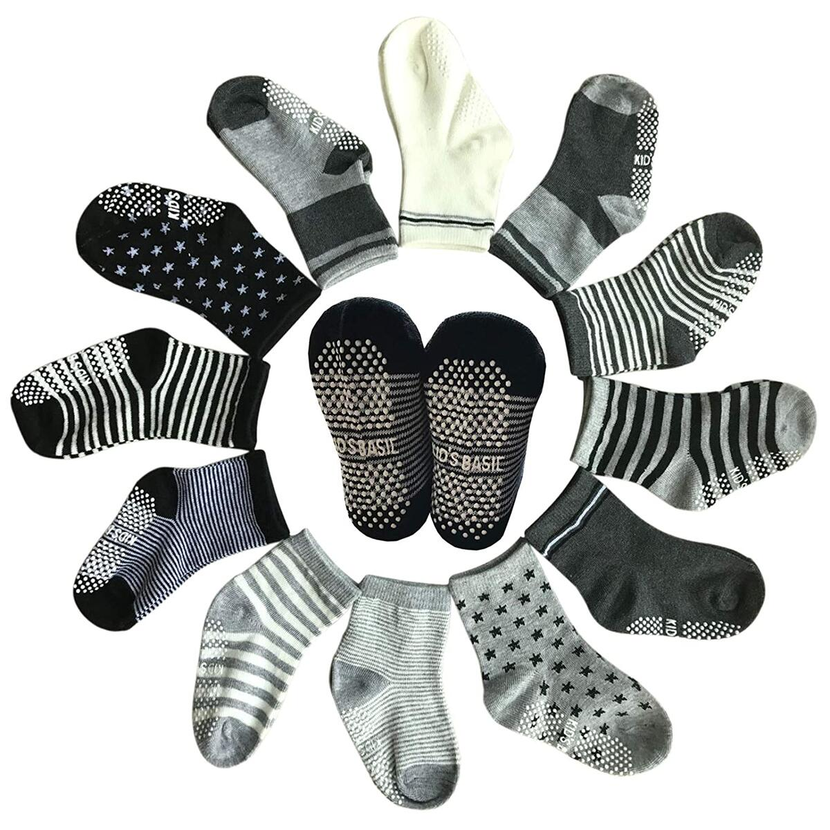 12 Pairs Non Skid Ankle Cotton Socks Baby Walker Boys Girls Toddler Anti Slip Stretch Knit Stripes Star Footsocks Sneakers Crew Socks With Grip For 16-36 Months Baby
