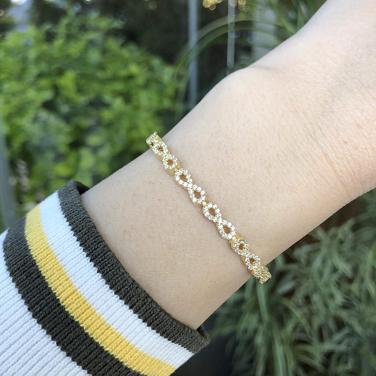 925 Sterling Silver Tennis Bracelets for Women, Rhodium Plated Elegant Design Cubic Zirconia CZ Adjustable Bracelets for Women, Strand Sliding Tennis Bolo Bracelet (Infinity)