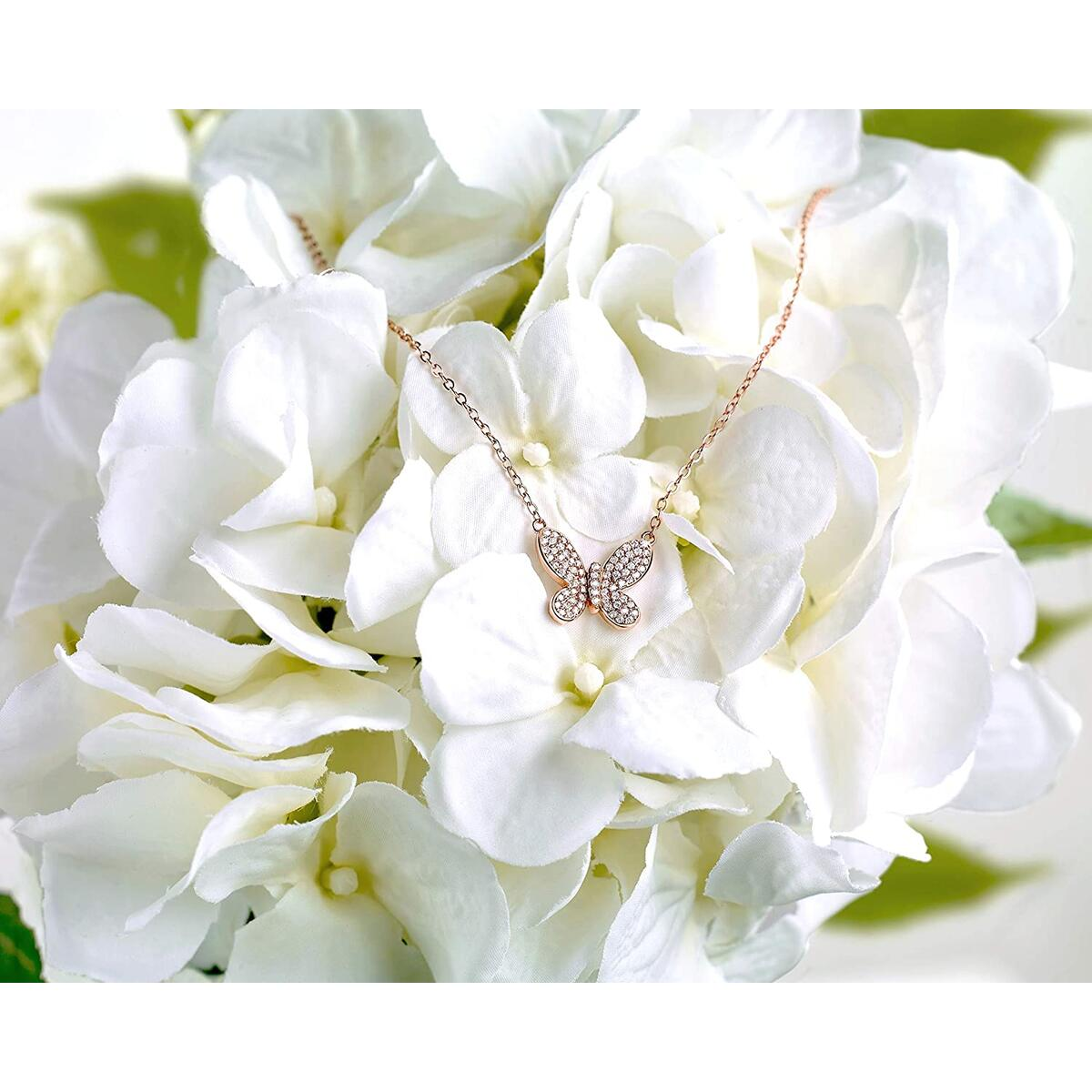 Real 14K Rose Gold Plated Butterfly Necklace with 75 pcs Simulated Diamonds