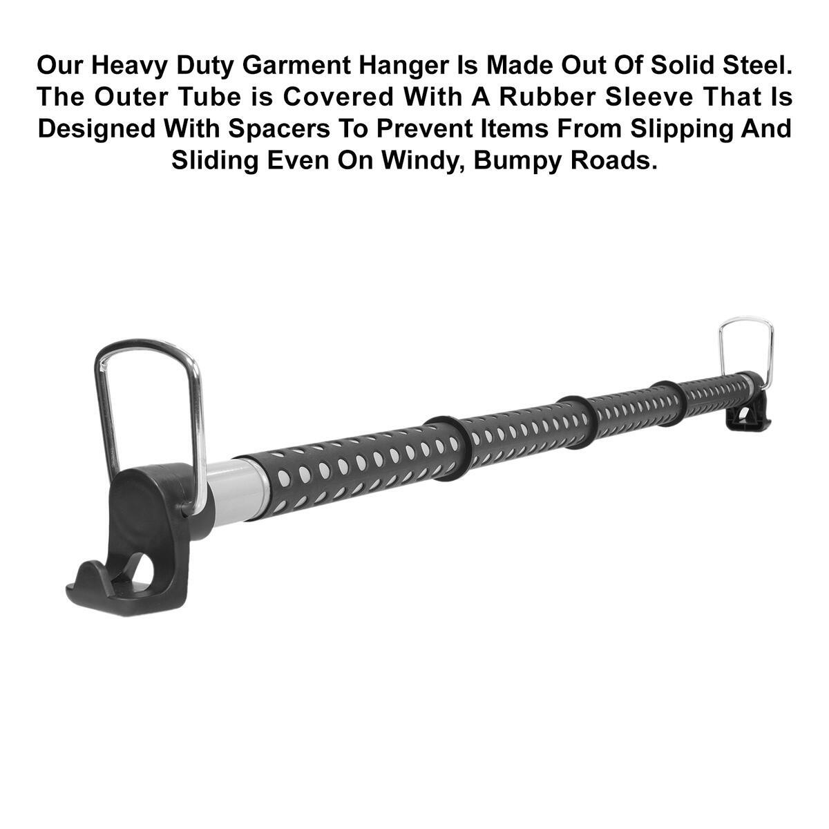 Car Clothes Hanger Bar, Expandable and Retractable Vehicle Clothing Rack for Traveling, Heavy Duty Garment Hanger, Car Clothing Rod Made with Strong Metal and Solid Rubber Grips and Spacers