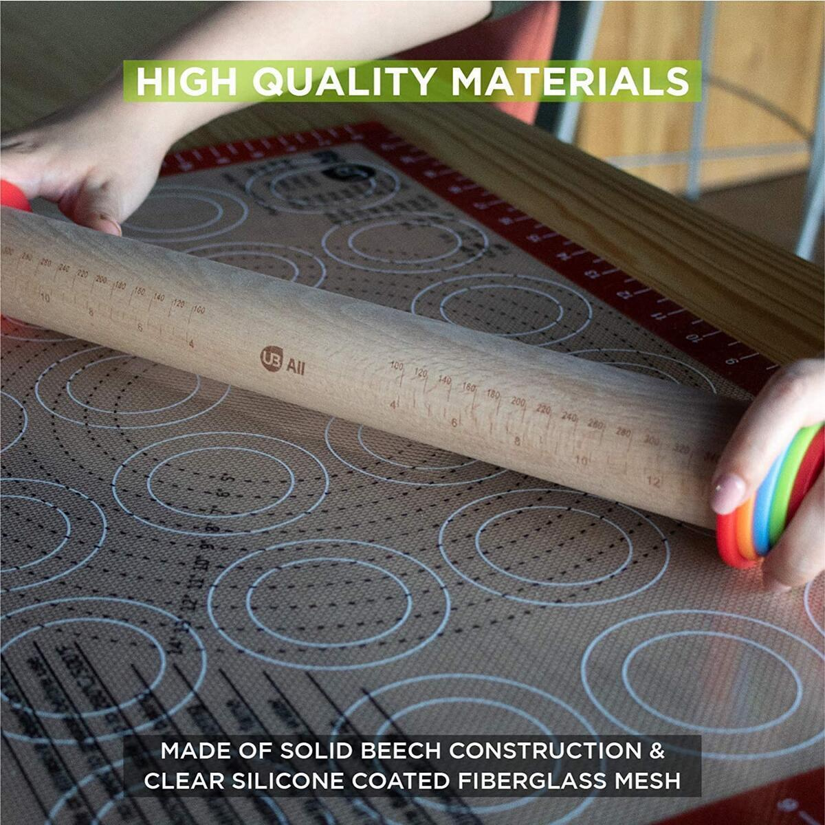 Set of Rolling Pin and Pastry Silicone Baking Mat Full Sheet Extra Thick 1/32
