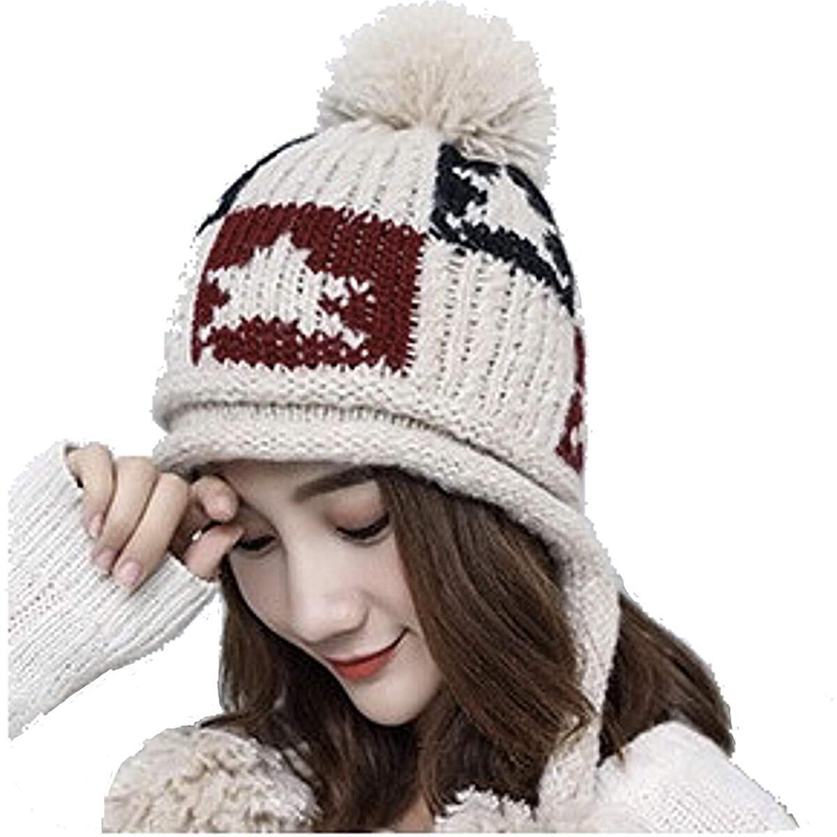 Women's Girls Cute Winter Cozy Earflap Knitted Pom Pom Ski Cap Hat Beanies