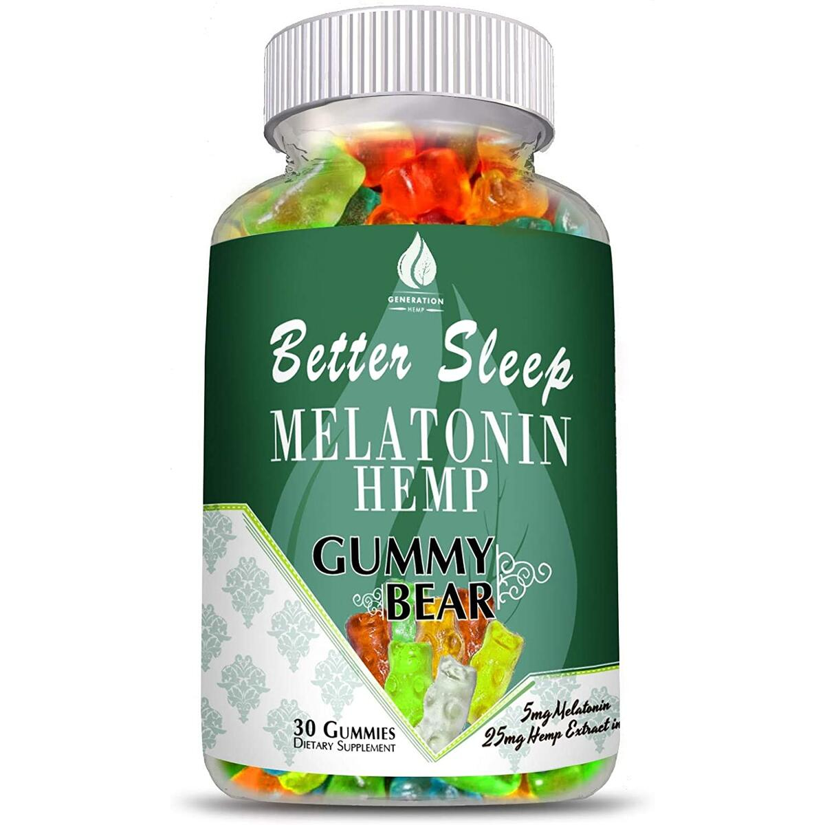 Melatonin Hemp Gummies for Sleep, Anxiety and Stress Relief. 5mg Melatonin + 750mg of 100% Pure Organic Hemp Extract in Every Gummy. #1 Natural Sleep Aid to Promote restful Sleep -30 Servings