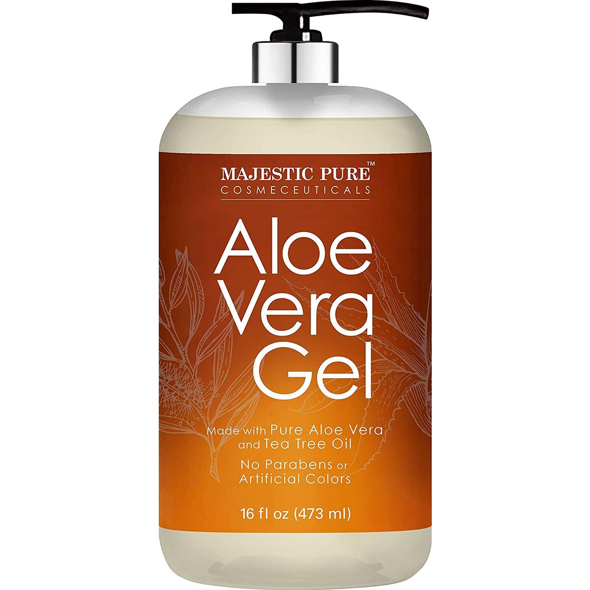 Aloe Vera Gel with Tea Tree Essential Oil - Moisturizes, and Nourishes Skin - Soothes Sunburn, Bites, Rashes, Small Cuts & Eczema - (Packaging May Vary) - 16 fl oz