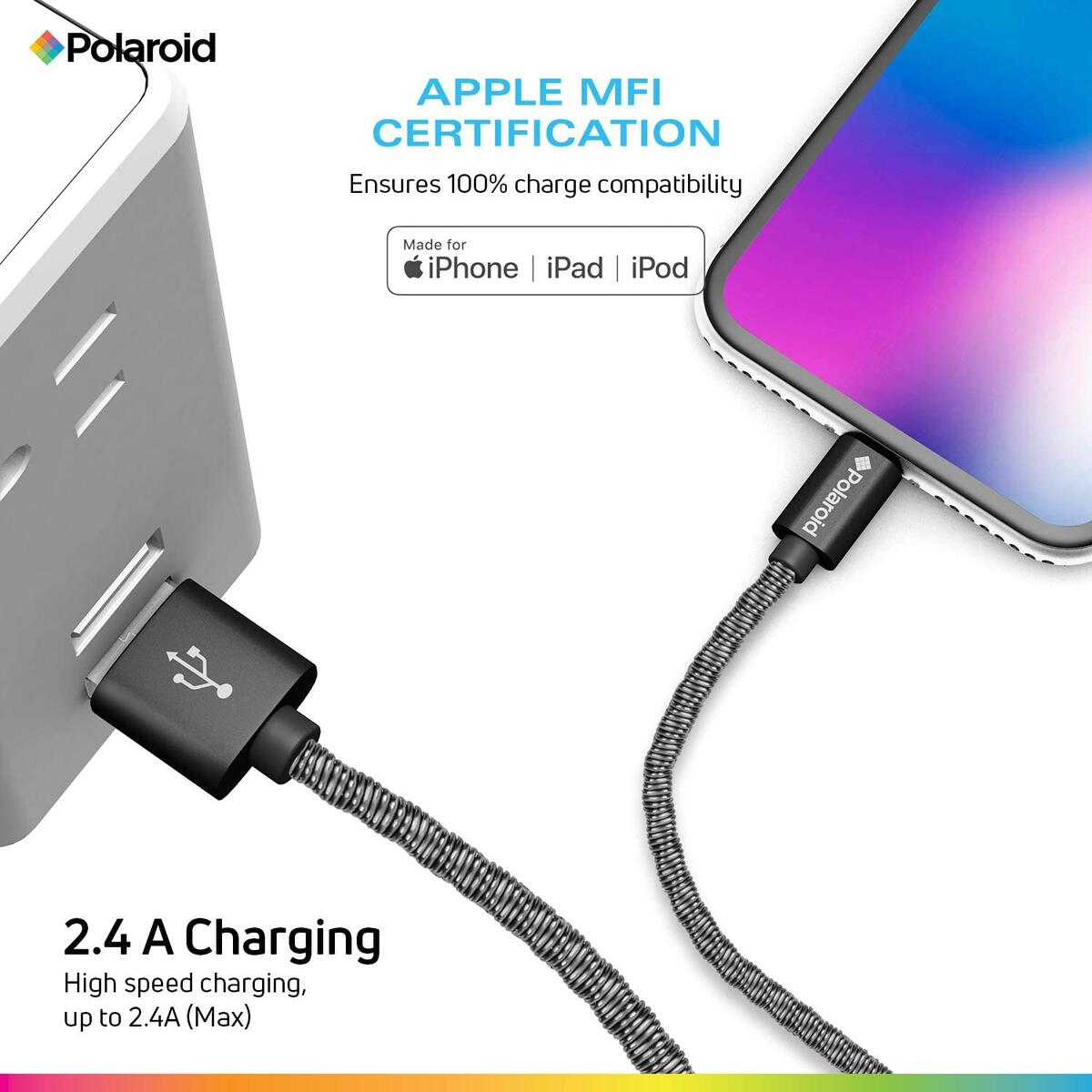 Polaroid 5ft Lightning Cable, Apple MFi Certified, Durable Metal Spiral