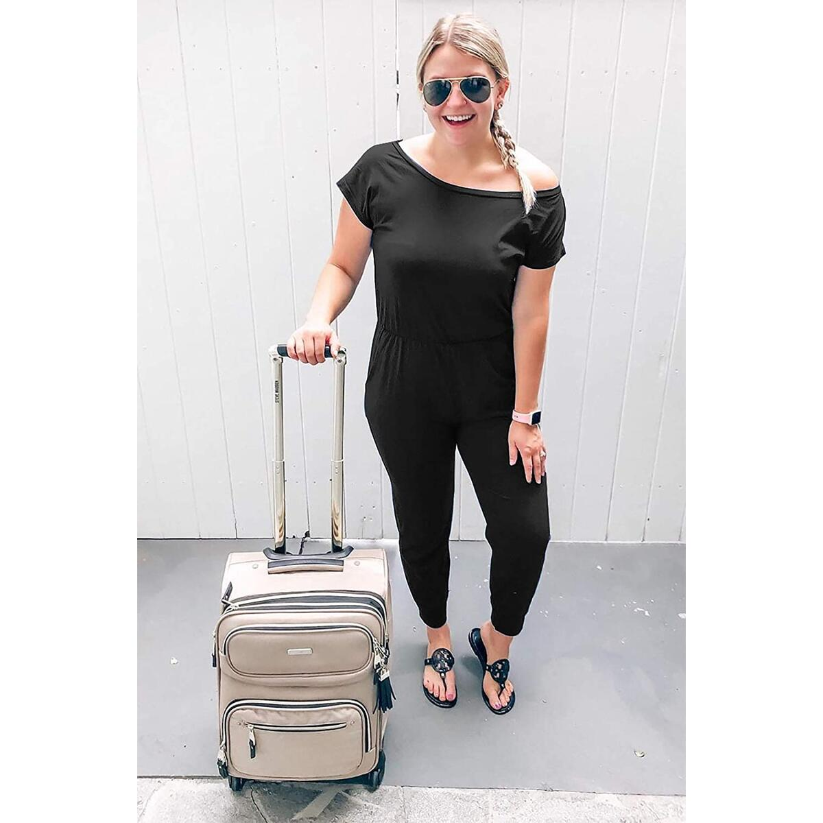 Women's Loose Fit Off Shoulder Elastic Waist Beam Foot Jumpsuit Rompers with Pockets Black