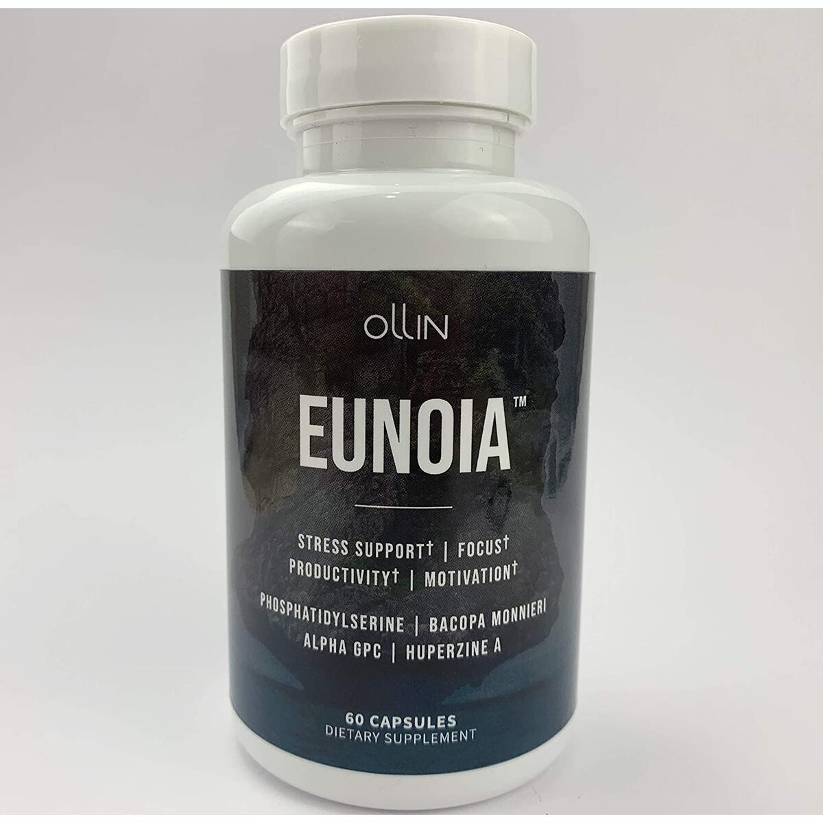 Eunoia | Premium Blend Supplement | Designed to Relieve Stress, Boost Focus and Increase Productivity | Featuring Premium Phosphatidylserine, Bacopa Monnieri and Alpha GPC | 60 Capsules
