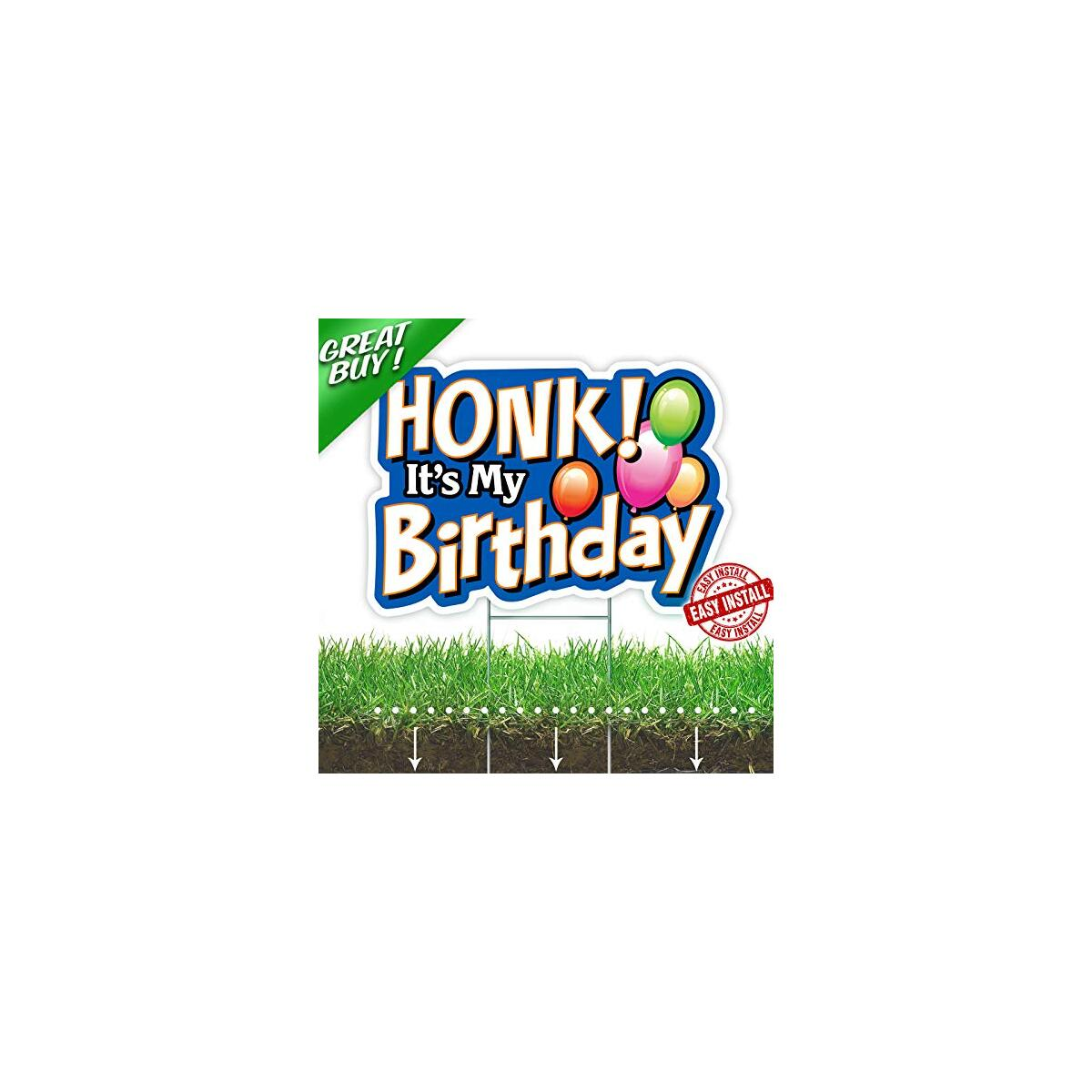 HONK! It's My Birthday Party Sign - Yard Decoration with Metal Stakes - Weatherproof Corrugated Plastic Board -  Lawn & Backyard Decor for Outdoor Celebration