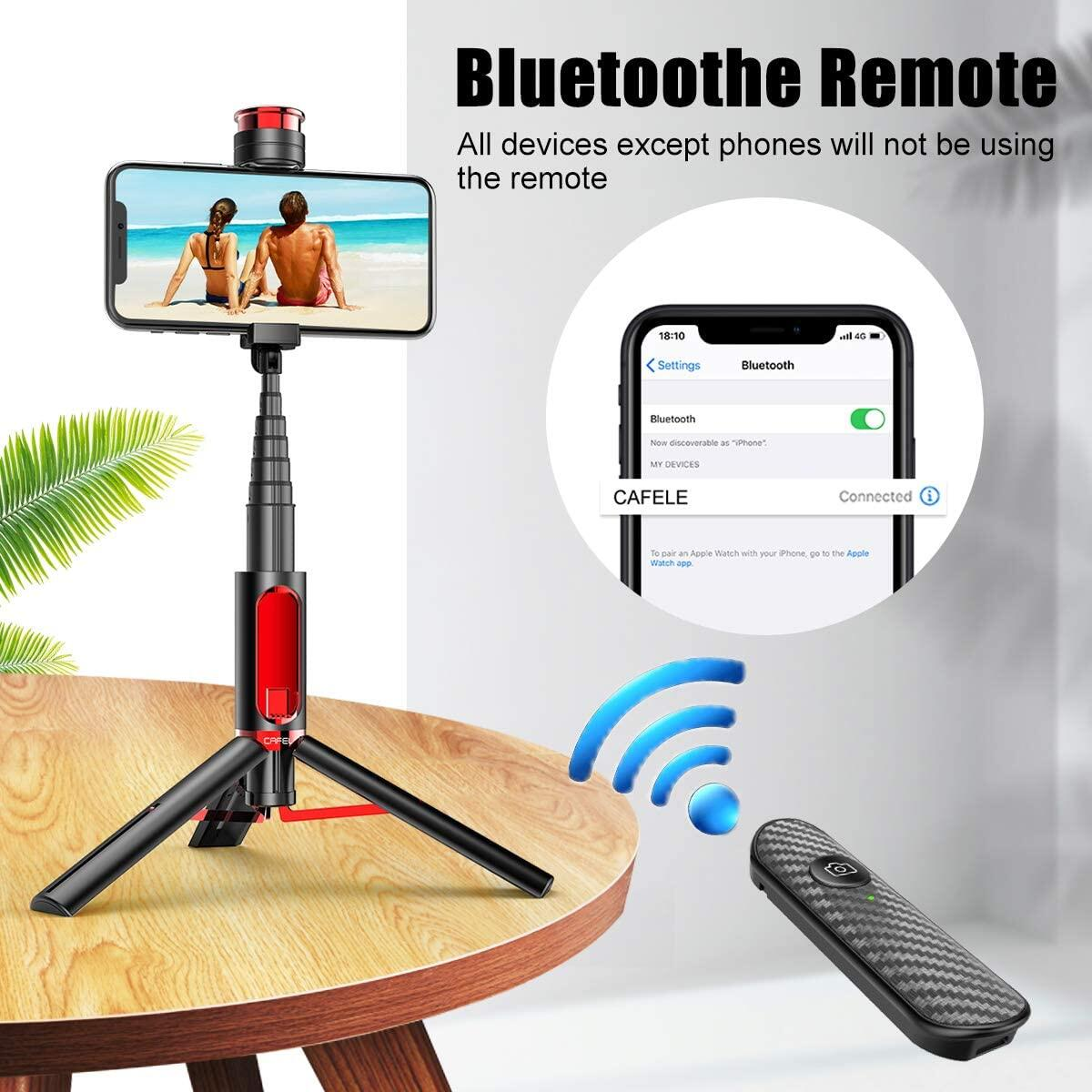 Selfie Stick Tripod, CAFELE All in One Extendable Tripod Stand with Detachable Bluetooth Remote,Lightweight Aluminum Tripod for iPhone 11/XS MAX/X/8/8 Plus, Galaxy S10/S9/S9 Plus