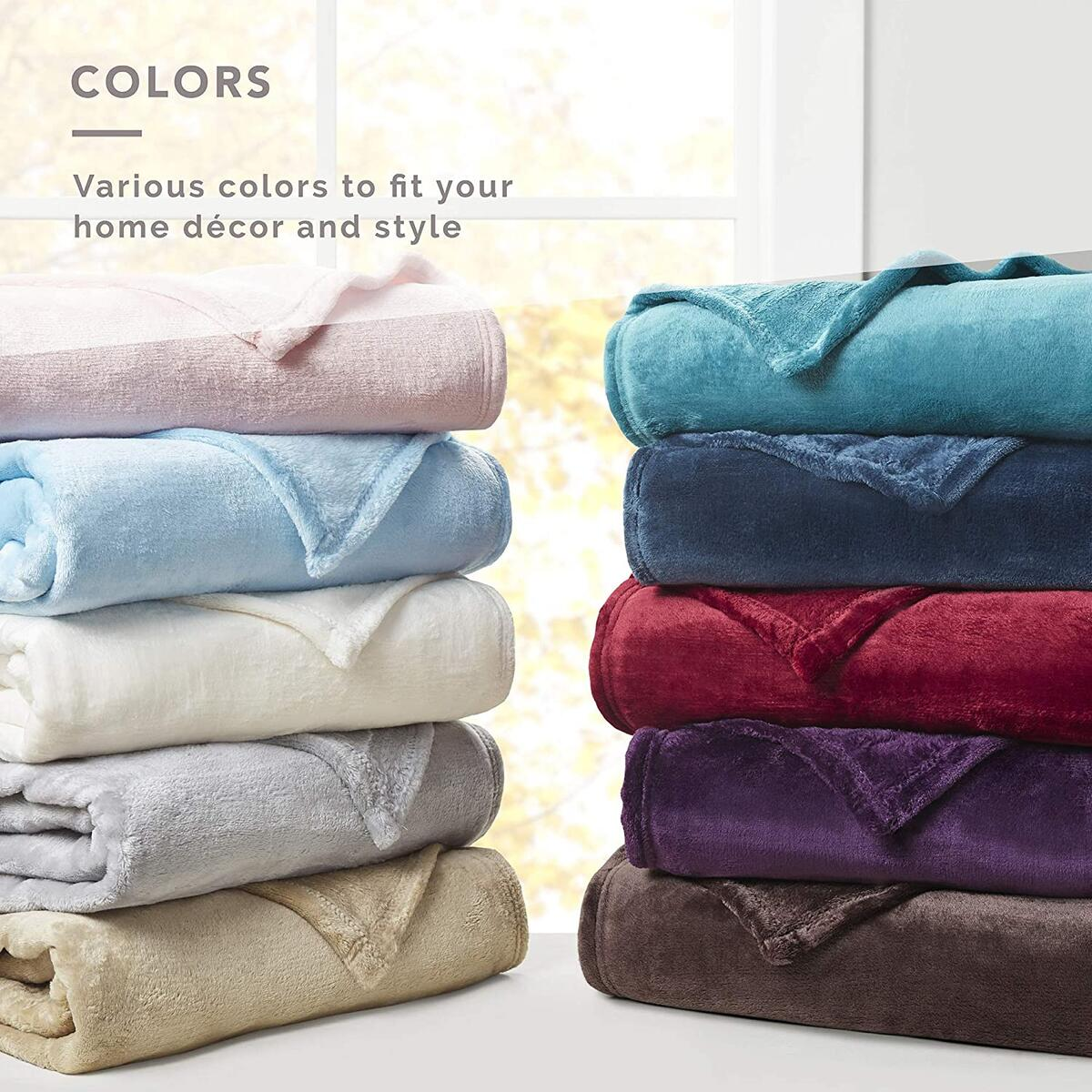 THROW Size Any Color DEGREES OF COMFORT Fleece Throw Blankets for Couch - MicroVelour Velvet Plush | Silky Soft & Lightweight | Use on The Couch, Bed or by The Campfire, 4 Sizes 10 Colors Soft Blanket Throw, 50x60 ANY COLOR