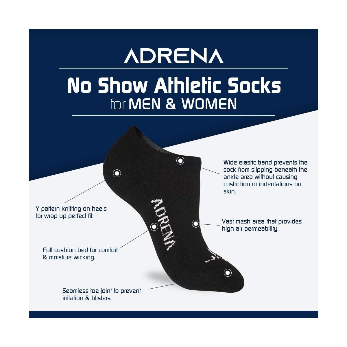 ADRENA No Show Athletic Socks | 7 Pair Men Women Cushioned Invisible Socks | Gift Box Multicolor M