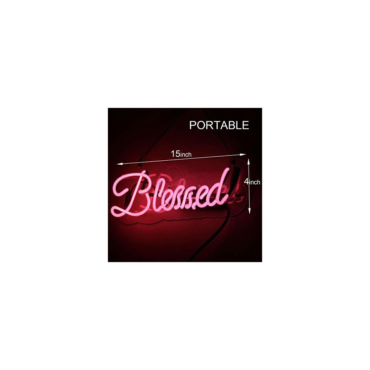 Neon Sign Blessed Shaped Handmade Glass Neon Light Sign 15 x 4 Inch Pink Novelty Night Light Decorative Beer Bar Sign for Bedroom Wall Office Party Decor