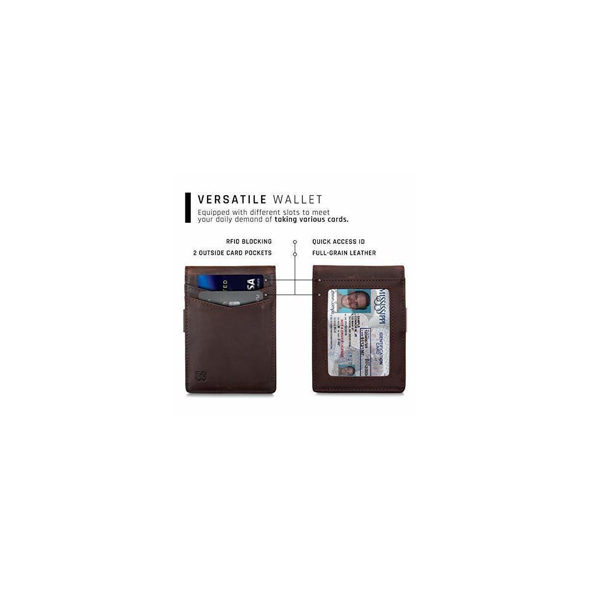 SERMAN BRANDS Money Clip Wallet - Mens Wallets slim Front Pocket RFID Blocking Card Holder Minimalist Mini Bifold - Texas Brown