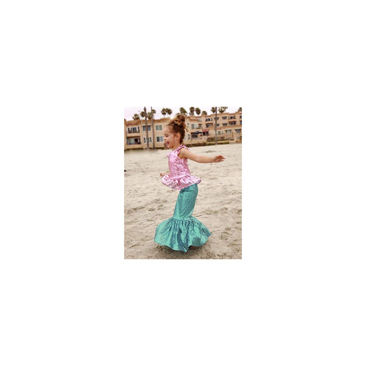 Toddler Girl's Mermaid Costume for Birthday Party, Dress up Play and Halloween - Pink Top W/ Turquoise Skirt M (3-4 Years)