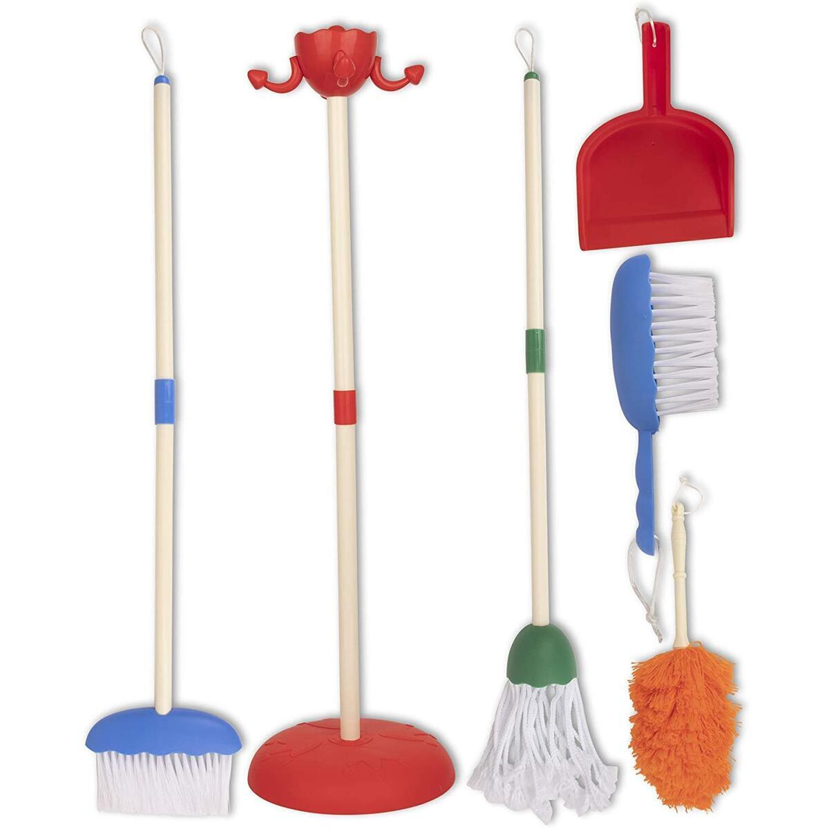 Playkidz Cleaning Role Set, 6Pcs, Includes Mop, Brush, Broom, Dustpan, and Organizer Stand, Play Helper Realistic Housekeeping Set, Recommended for Ages 3+