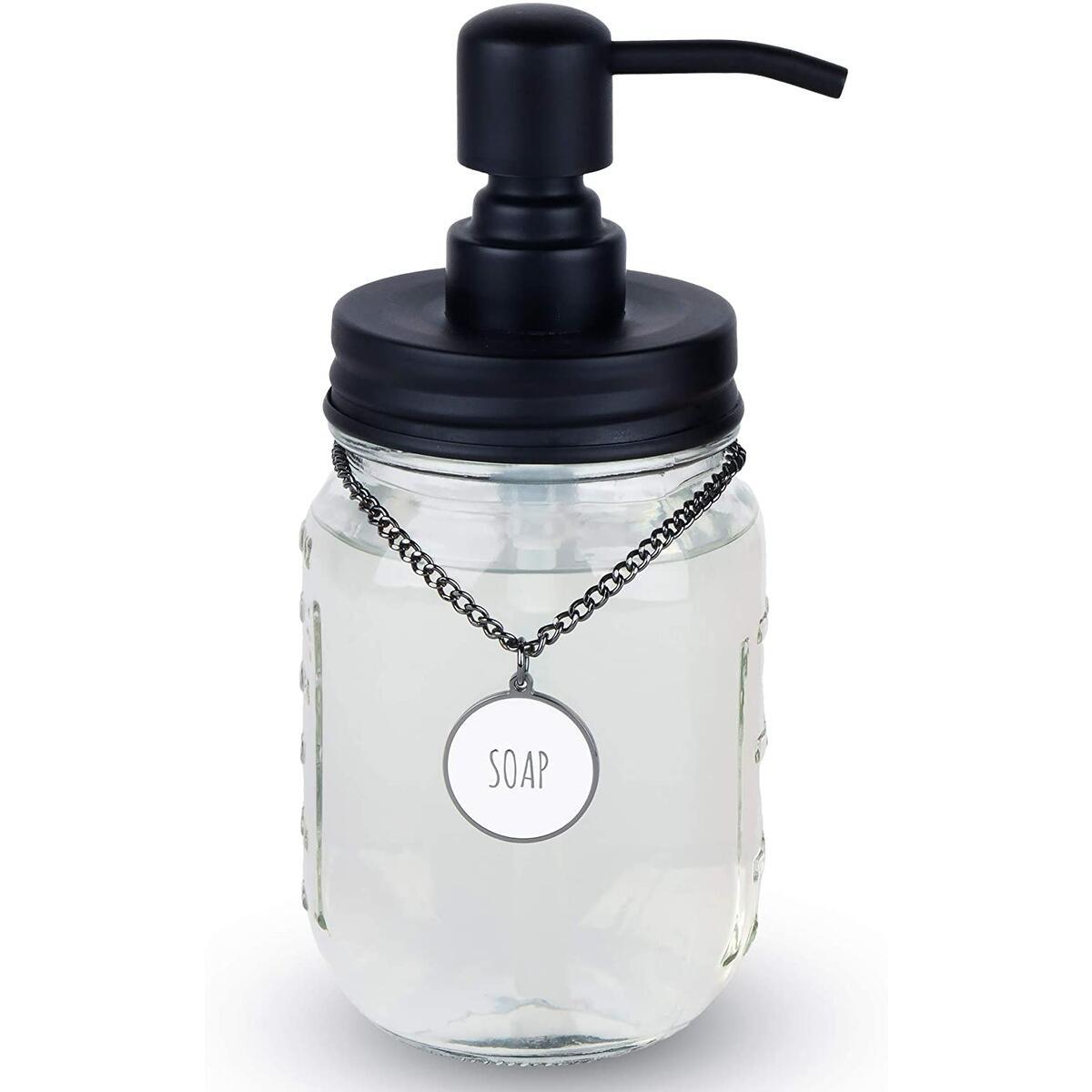 Mason Jar Soap Dispenser with SOAP/LOTION Hang Tag (Black)