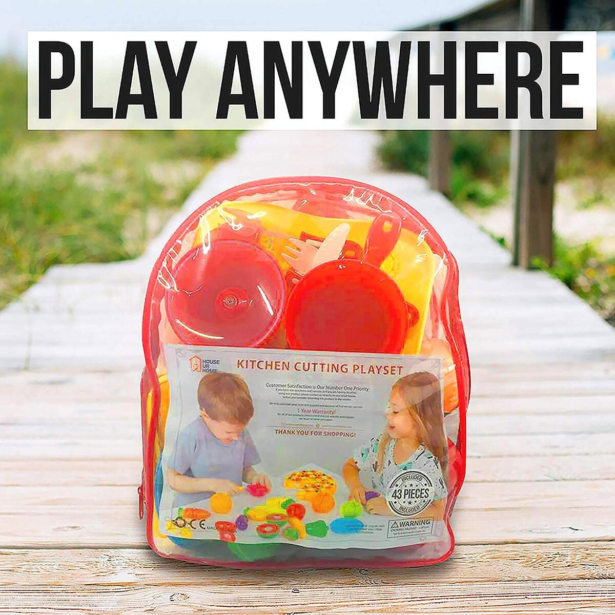 Kitchen Toys Cutting Fruit Vegetables Play Fun Cooking Little Stove top, Pot and Utensils 86 Pieces Pizza & Knife Toy, Cutting Board. Pretend Cutting Food Playset Carry Bag for Girls Boys Toddler,