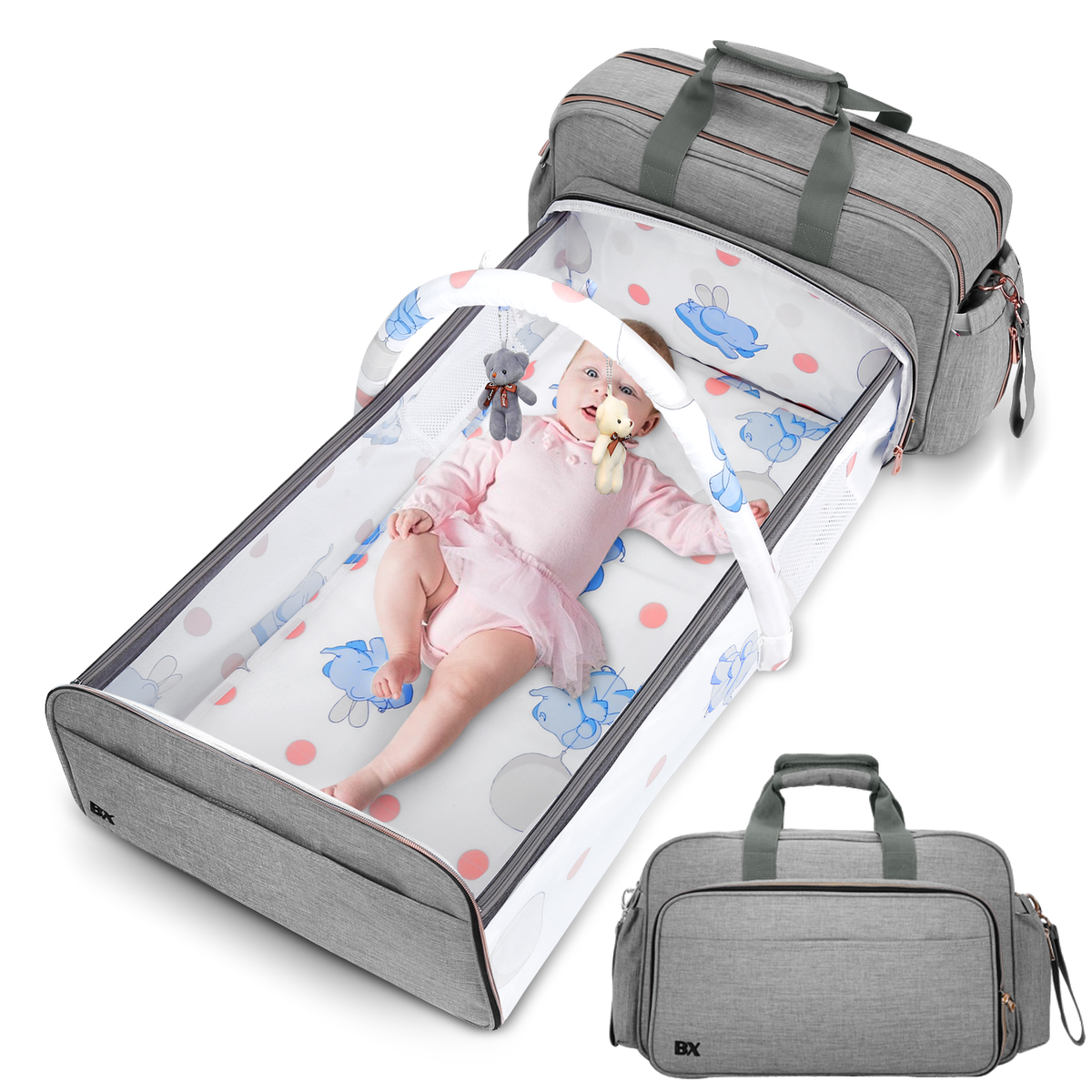Baby Diaper Bag - Get Organized with Multi-Purpose Travel Baby Bag - Includes Bassinet & Changing Pad