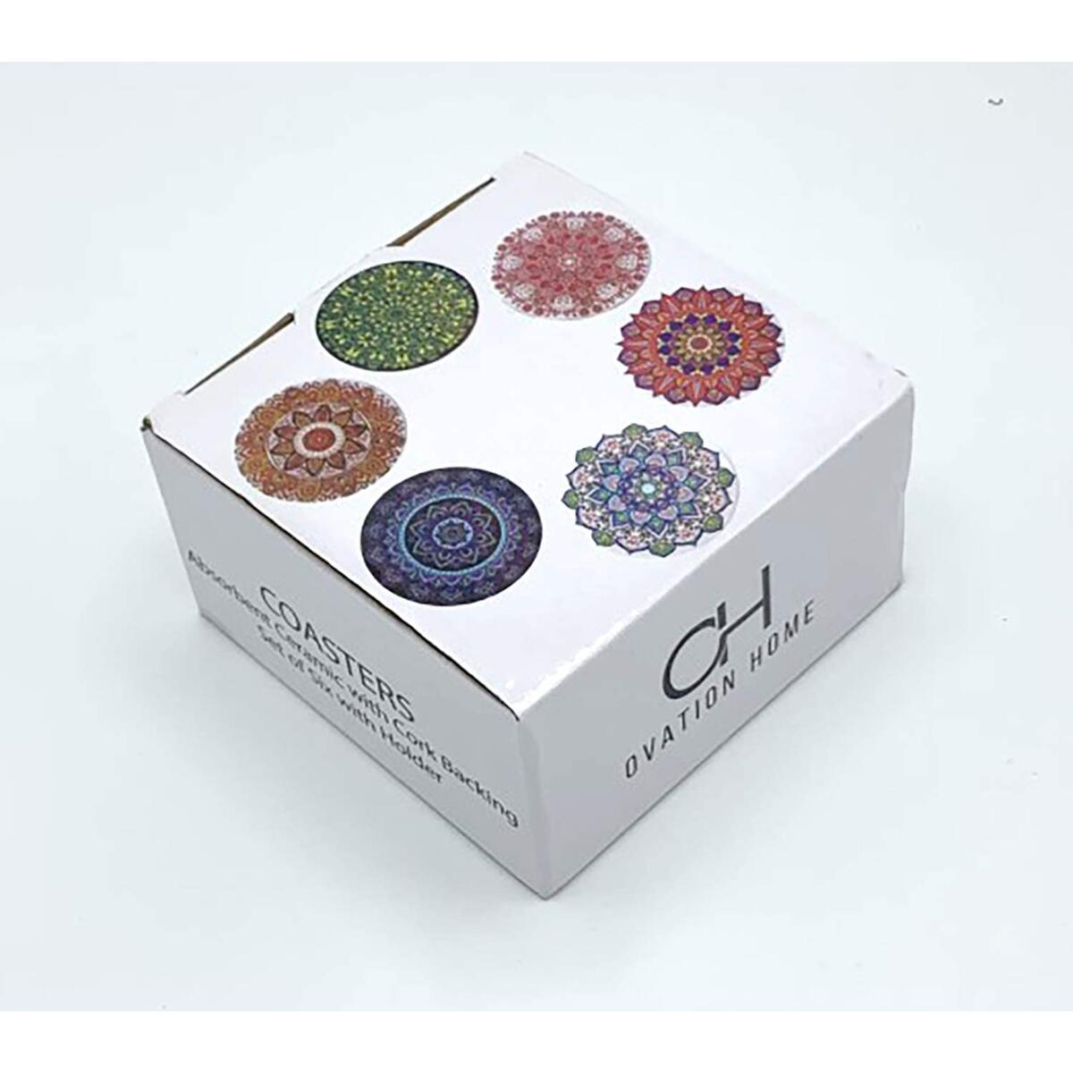 Ceramic Coasters for Drinks, 6 Colorful Designs with Premium Black Holder, Absorbent Ceramic with Cork Backing, 4 inch Diameter.