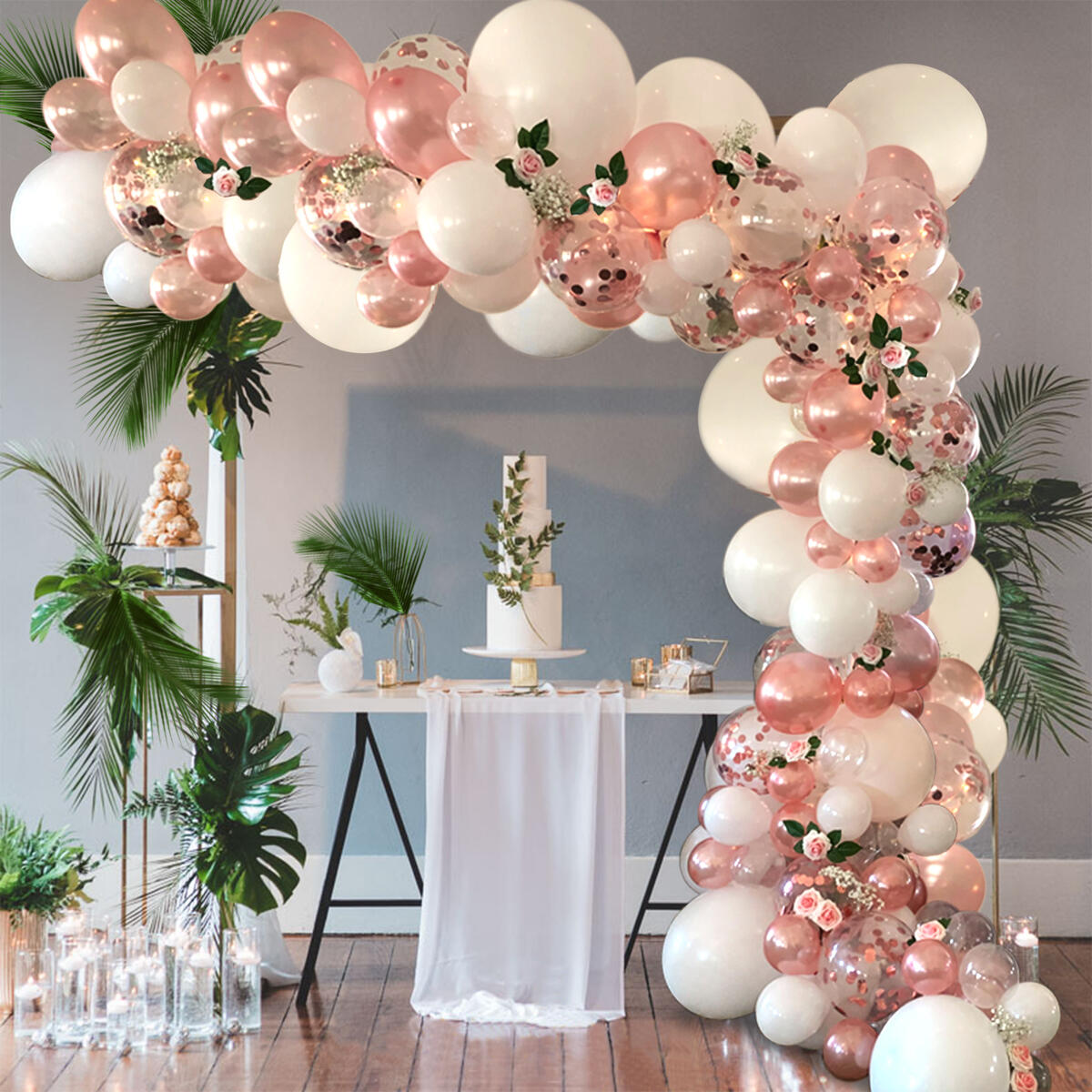 Balloon Arch Garland Kit Rose Gold 16' | 100+ Kit | Rose Gold Confetti, White, Rose Gold & Clear Premium Latex Balloons + Accessories | Bridal Shower, Baby Shower, Wedding, Bachelorette Party