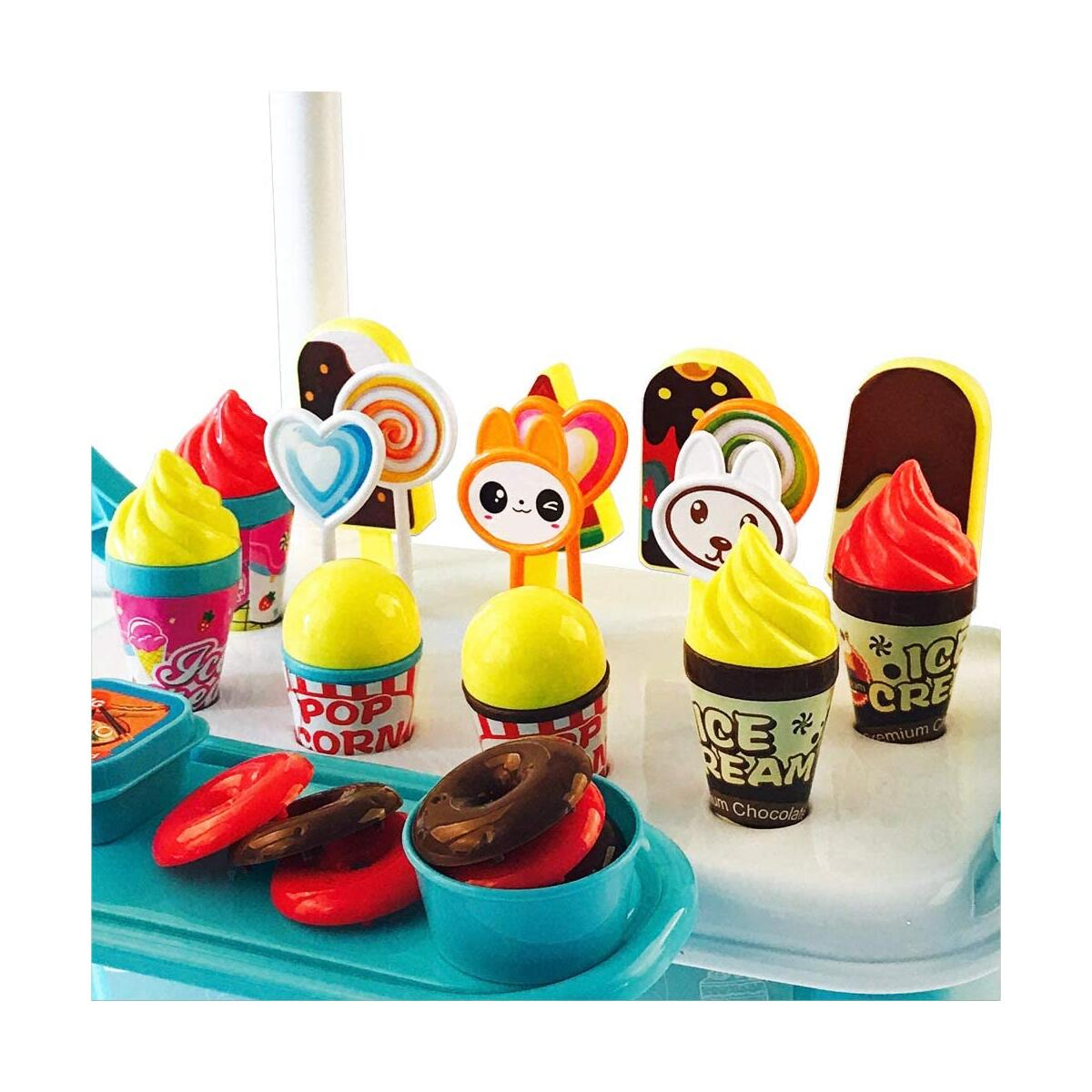 Ice Cream Cart for Toddlers ice cream scoop set for Kid ice cream toy Pretend Food Play Set food truck for kid ice cream truck Activity Early Development Educational Toy for Toddler 45 PCS Toy Set