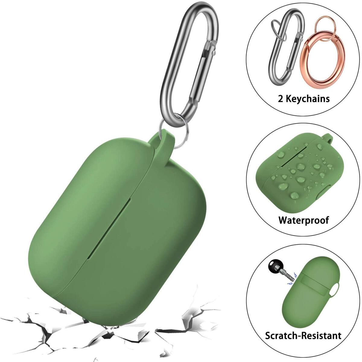 Zasun Airpods Pro Case Cover with 2PCS Keychains, Silicone Protective Case Skin for Apple Airpods Pro 2019 [Front LED Visible] (Army_Green)