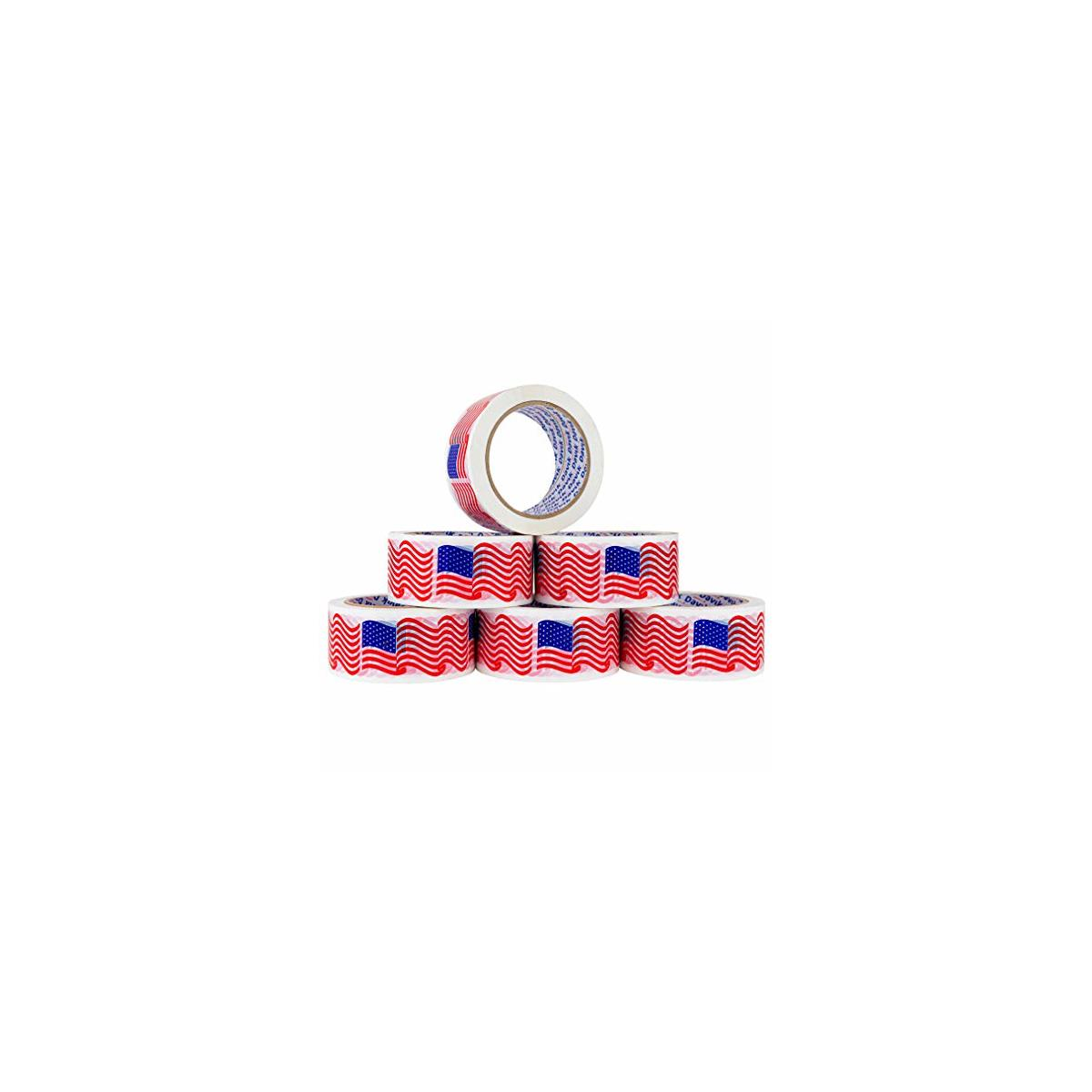 Davik USA Flag Printed Packaging Tape 6-Pack: 6 American Flags 216-Feet 1.88-Inch Permanent Designer Crafting Rolls for Shipping, Sealing, and More