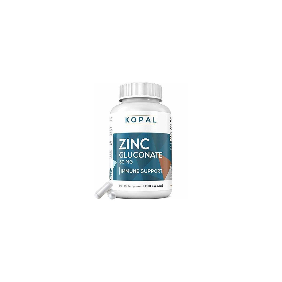 KOPAL DEFENSE – (50 mg) Zinc Gluconate – Doctor Approved, USA Made - Powerful, Potent, 100% Zinc Vitamin Supplements for Superior Immune Support, Recovery & Acne Defense – Gluten Free Non-GMO Capsule