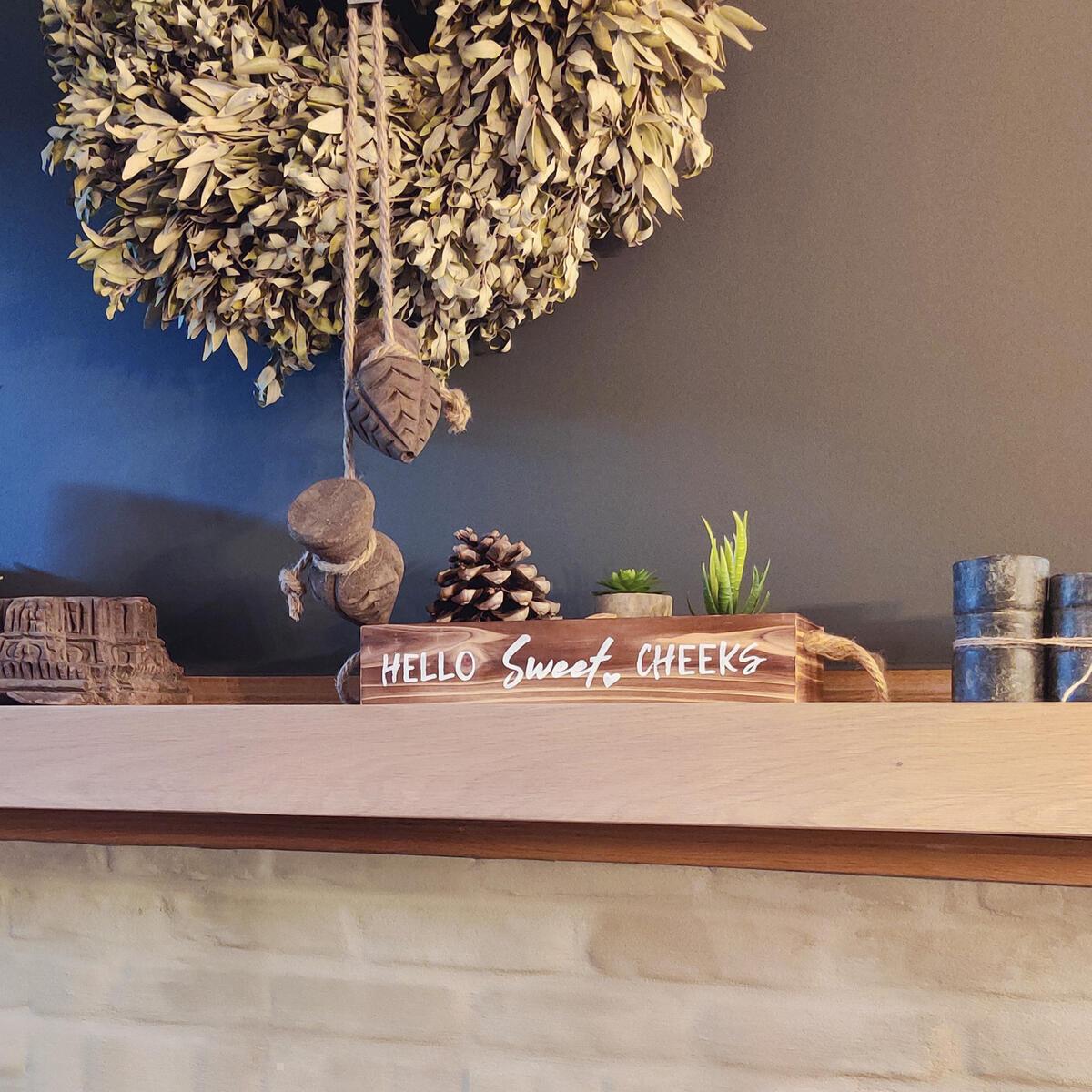 Nice Butt Bathroom Decor Box & Artificial Plants (BUNDLE): 2 Funny Sayings, Hello Sweet Cheeks, Bathroom Organizer, Toilet Paper Holder, Farmhouse Decor, 2 Artificial Succulent Plants Included, Brown
